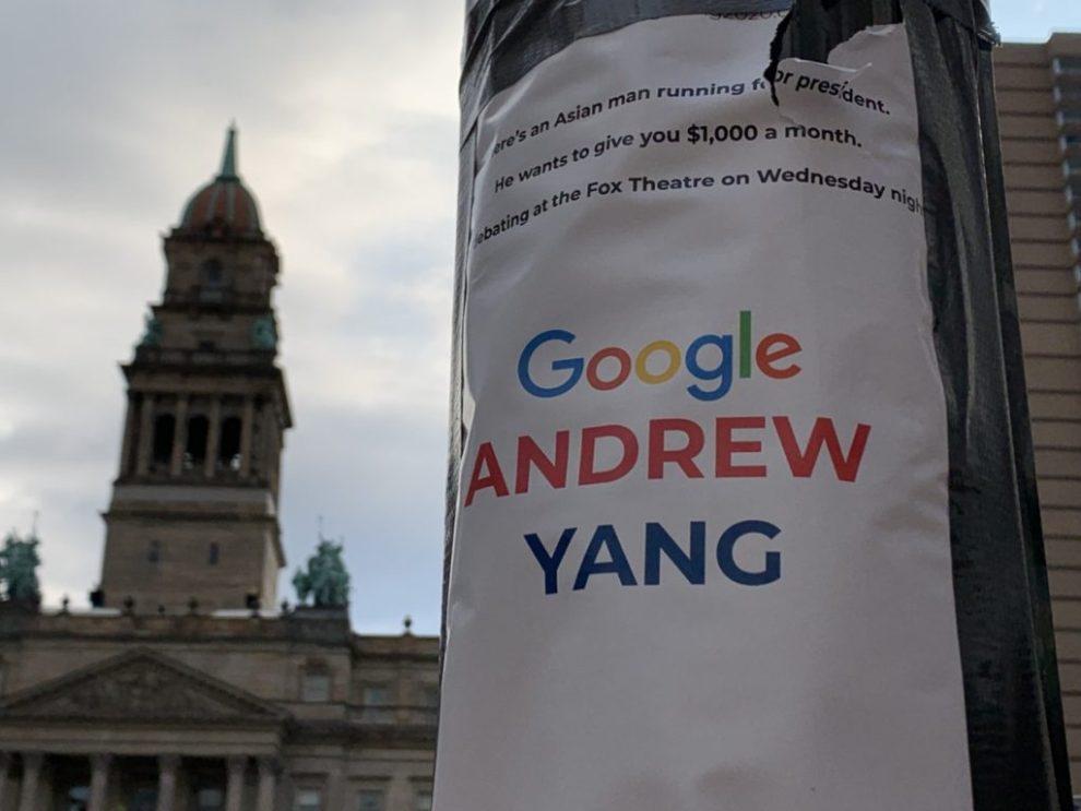 Andrew Yang poster (Joel Pollak / Breitbart News)