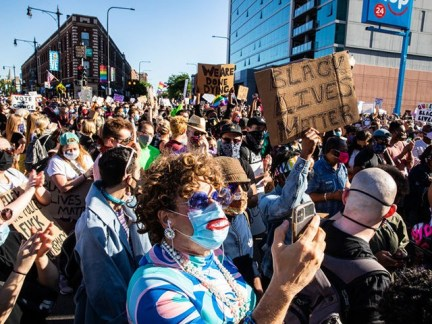 CHICAGO, ILLINOIS - JUNE 14: Crowds fill the streets during a march in support of Black Lives Matter and Black Trans Lives in Boystown on June 14, 2020 in Chicago, Illinois. Protests erupted across the nation after George Floyd died in police custody in Minneapolis, Minnesota on May 25th. (Photo …