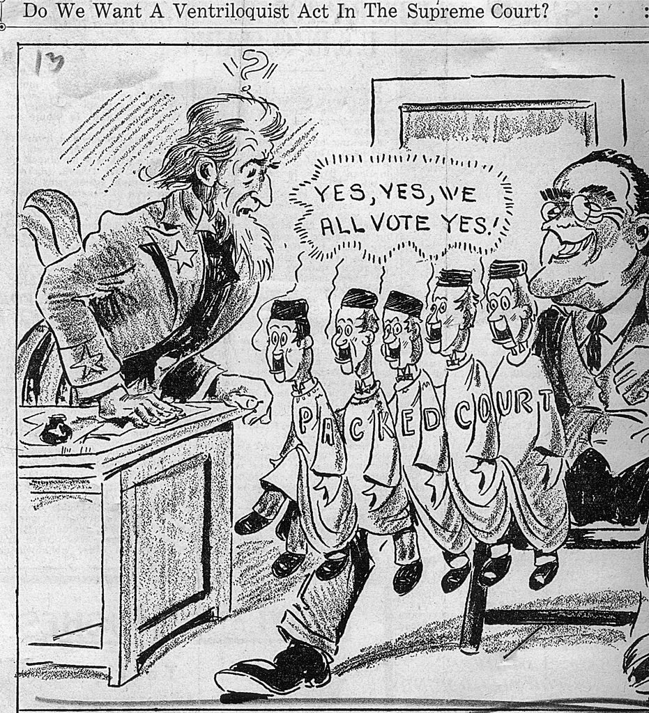 Political cartoon with the caption 'Do We Want A Ventriloquist Act In The Supreme Court?' The cartoon, a criticism of FDR's New Deal, depicts President Franklin D. Roosevelt with six new judges likely to be FDR puppets. USA, 14 February 1937. (Photo by Fotosearch/Getty Images).