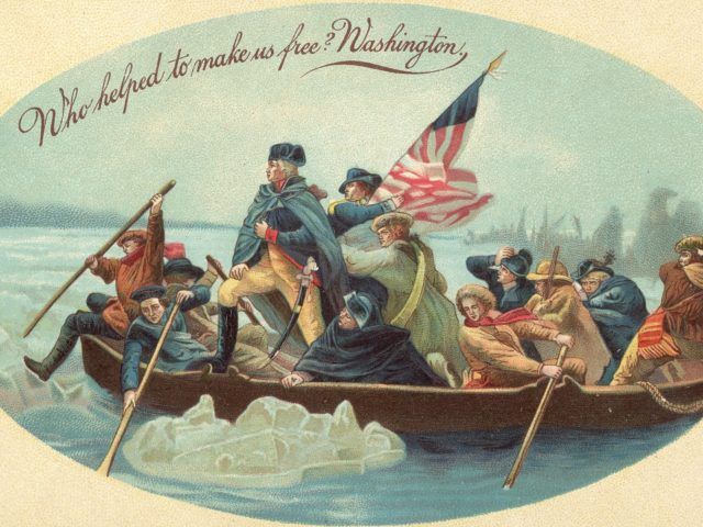 """Postcard shows the iconic image of American soldier and politician (and the country's first President) George Washington as he crosses the Delaware River in a boat with his troops, McKonkey's Ferry, Pennsylvania, December 26, 1776. The headline reads """"Who helped make us free? Washington.' The card's illustration is based on …"""