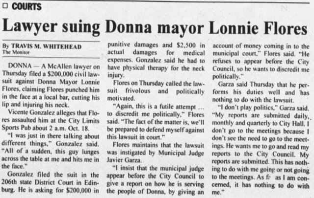 """(Travis M. Whitehead, """"Lawyer suing Donna mayor Lonnie Flores,"""" The Monitor, 12/29/2000)"""