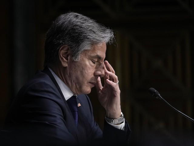 U.S. Secretary of State Antony Blinken testifies during a Senate Foreign Relations Committee hearing on Capitol Hill, September 14, 2021 in Washington, DC. Blinken was questioned about the Biden administration's handling of the U.S. withdraw from Afghanistan. (Drew Angerer/Getty Images)