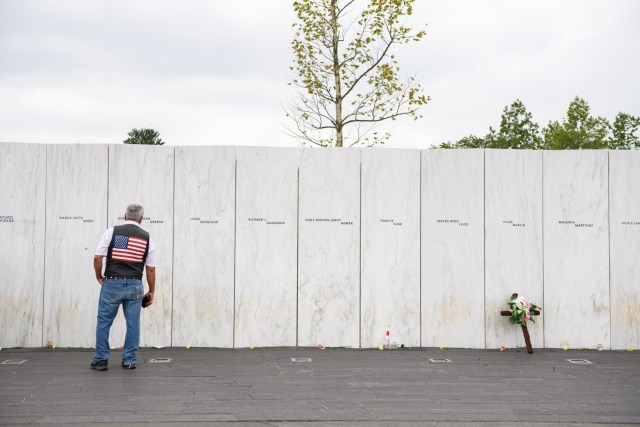 SHANKSVILLE, PA - SEPTEMBER 11:Guests visit the Wall of Names following a ceremony at the Flight 93 National Memorial commemorating the 19th Anniversary of the crash of Flight 93 and the September 11th terrorist attacks on September 11, 2020 in Shanksville, Pennsylvania. The nation is marking the nineteenth anniversary of the terror attacks of September 11, 2001, when the terrorist group al-Qaeda flew hijacked airplanes into the World Trade Center and the Pentagon, killing nearly 3,000 people. (Photo by Jeff Swensen/Getty Images)