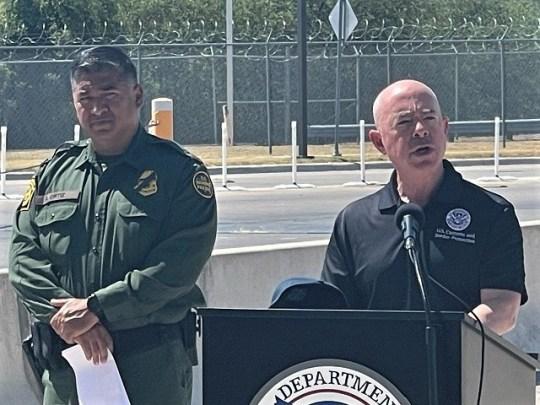 DHS Secretary Alejandro Mayorkas and Border Patrol Chief Raul Ortiz address reporters at the migrant camp in Del Rio, Texas. (Photo: Randy Clark, Breitbart Texas)