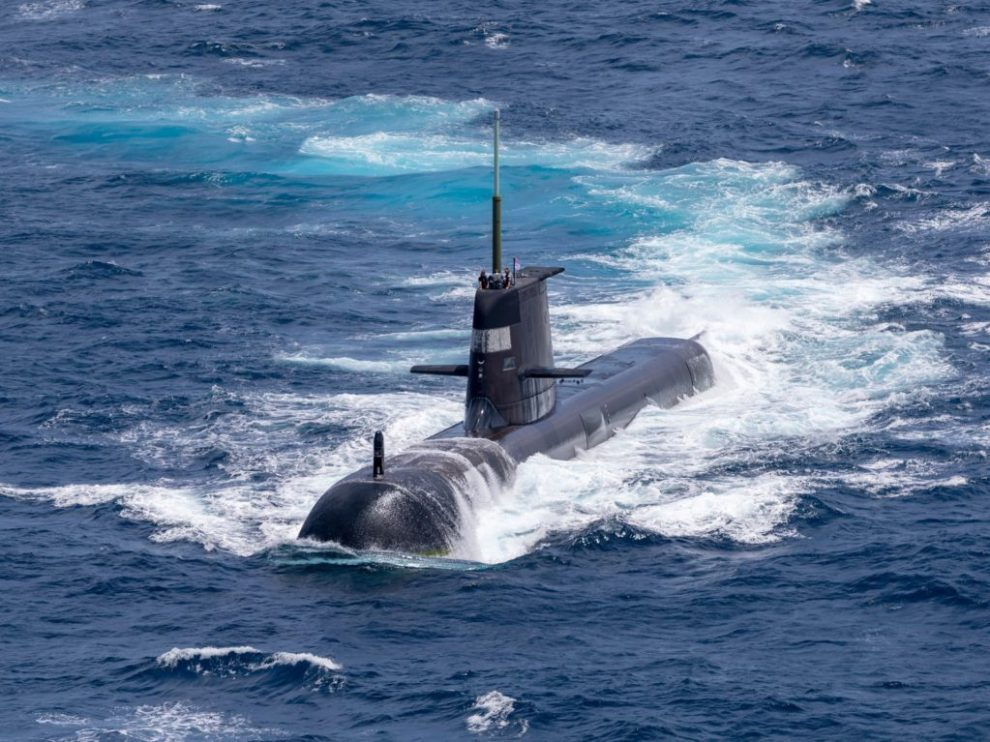 Submarine HMAS Rankin sails on the surface in the waters north of Darwin during AUSINDEX 21.
