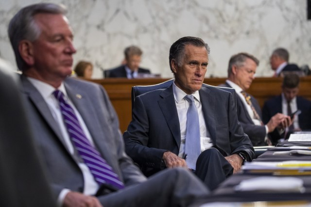 WASHINGTON, DC - SEPTEMBER 30: Sen. Mitt Romney (R-UT) looks on as Secretary of Health and Human Services Xavier Becerra testifies during a Senate Health, Education, Labor, and Pensions Committee hearing to discuss reopening schools during the COVID-19 pandemic on Capitol Hill on September 30, 2021 in Washington, DC. (Photo by Shawn Thew-Pool/Getty Images)