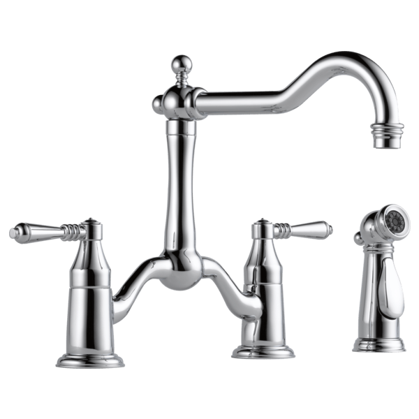 two handle bridge kitchen faucet with spray