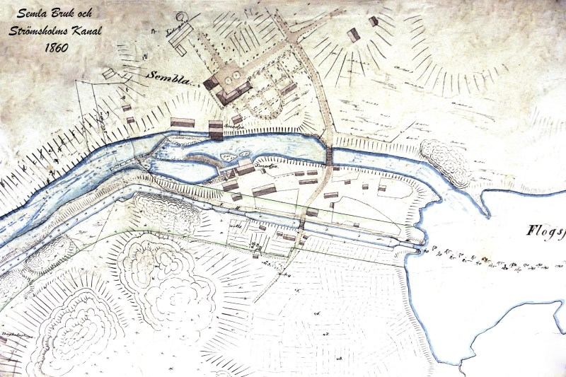 Karta över Semla Bruk, kanalen och forssområdet med hammare och herrgård