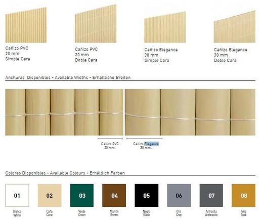 canisse pvc double face couleur bambou differentes hauteurs et longueurs