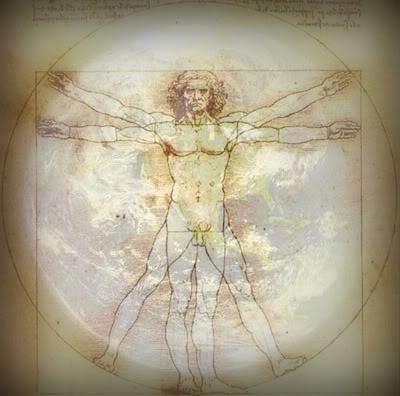 Vitruvian Man with Planet Earth enhanced