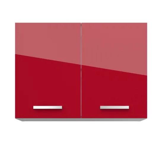 haut 80 cm 2 portes elibox 243403 rouge brillant