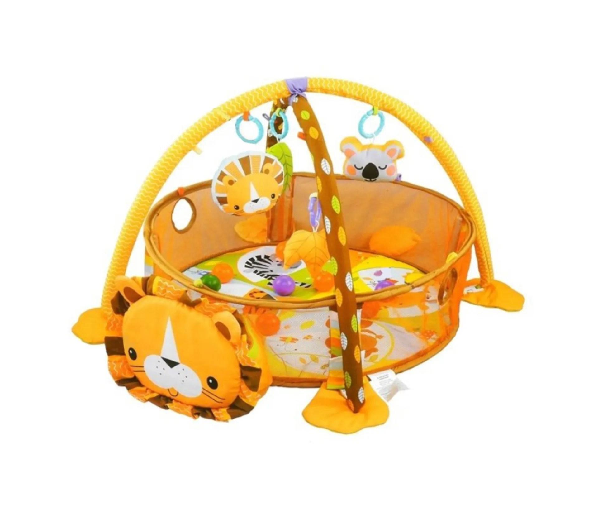 lion tapis deveil bebe 3 en 1 parc et piscine a balles avec arches