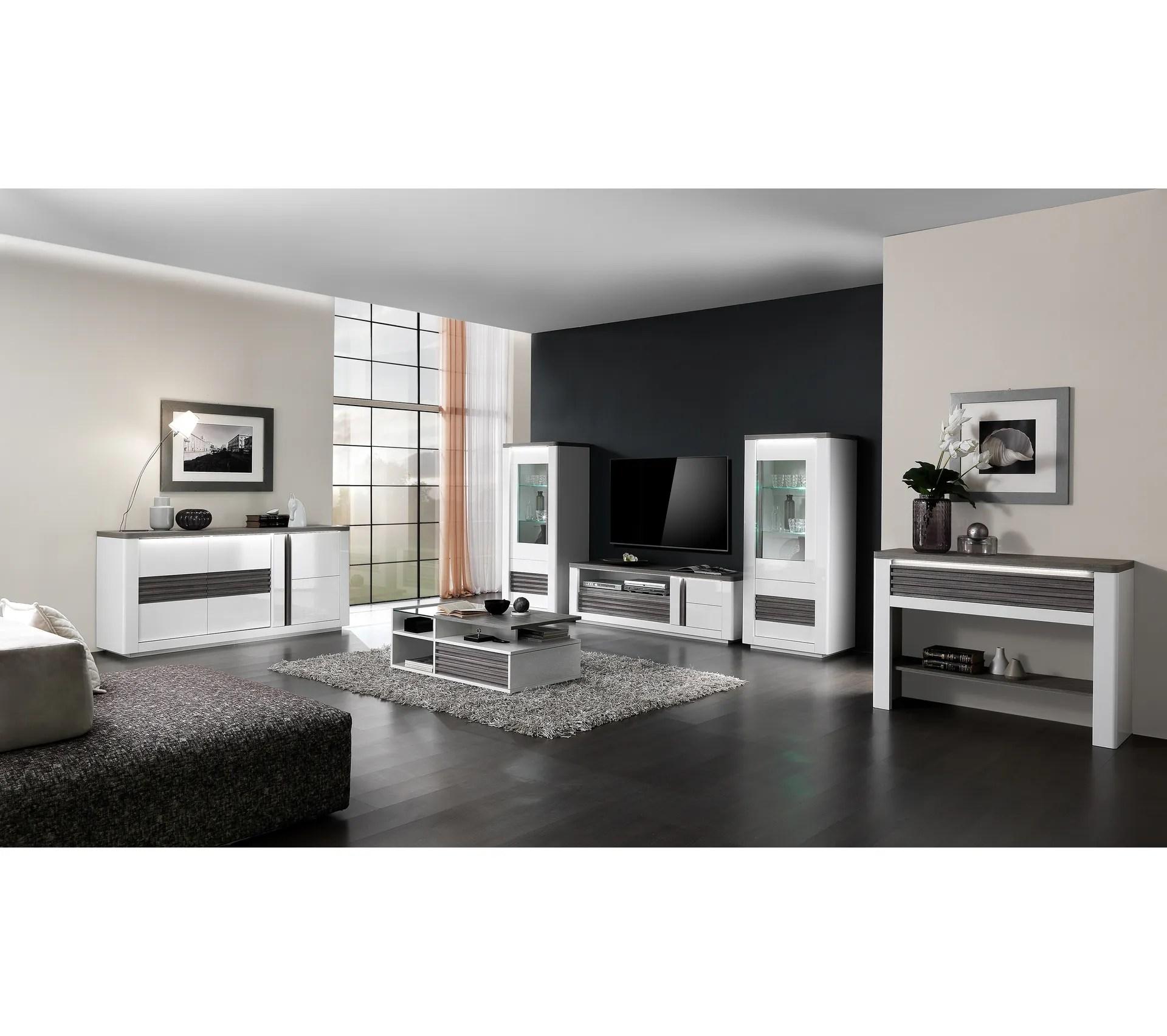 meuble tv l150 cm vertigo blanc chene gris