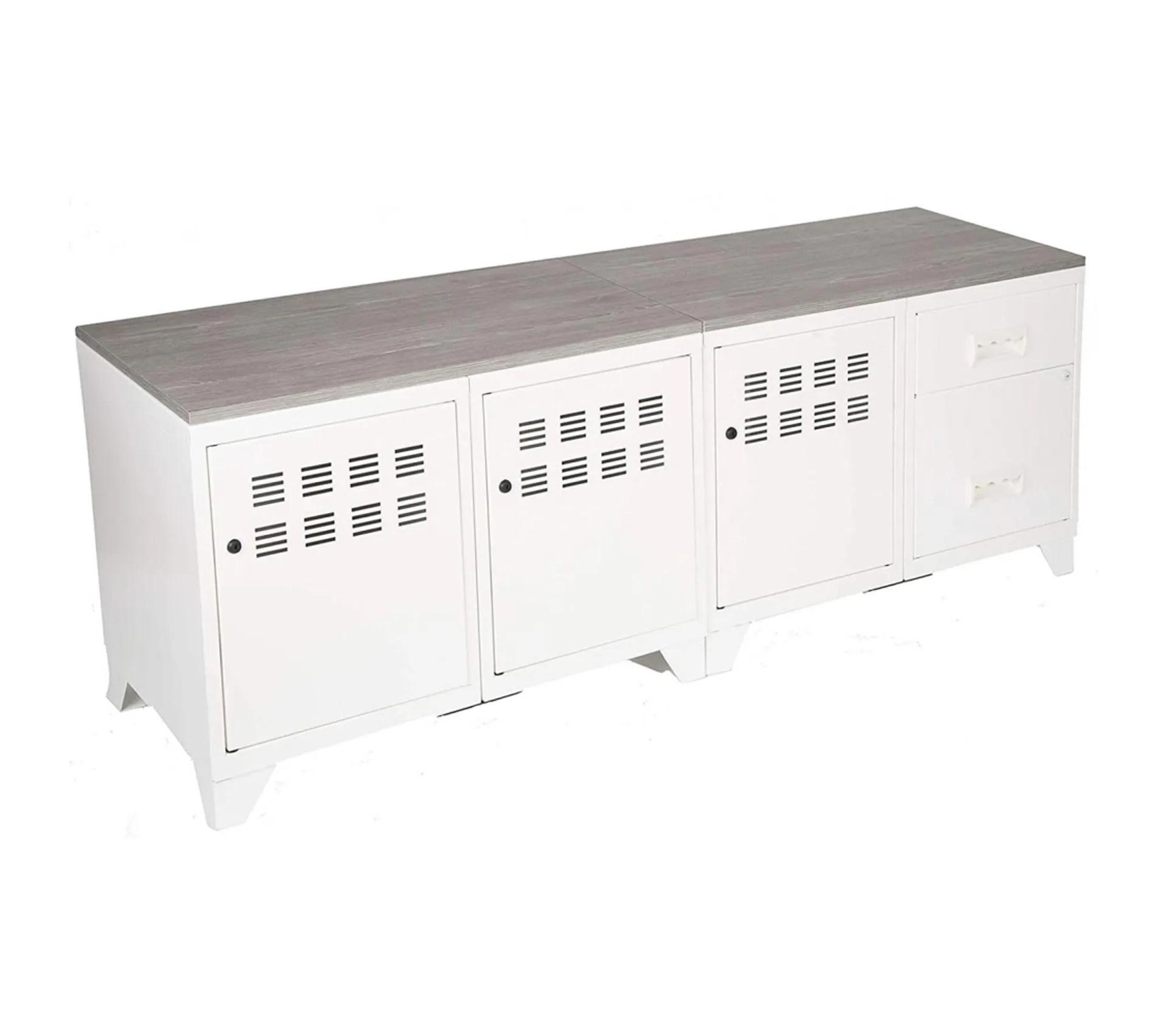 meuble tv bois metal industriel blanc