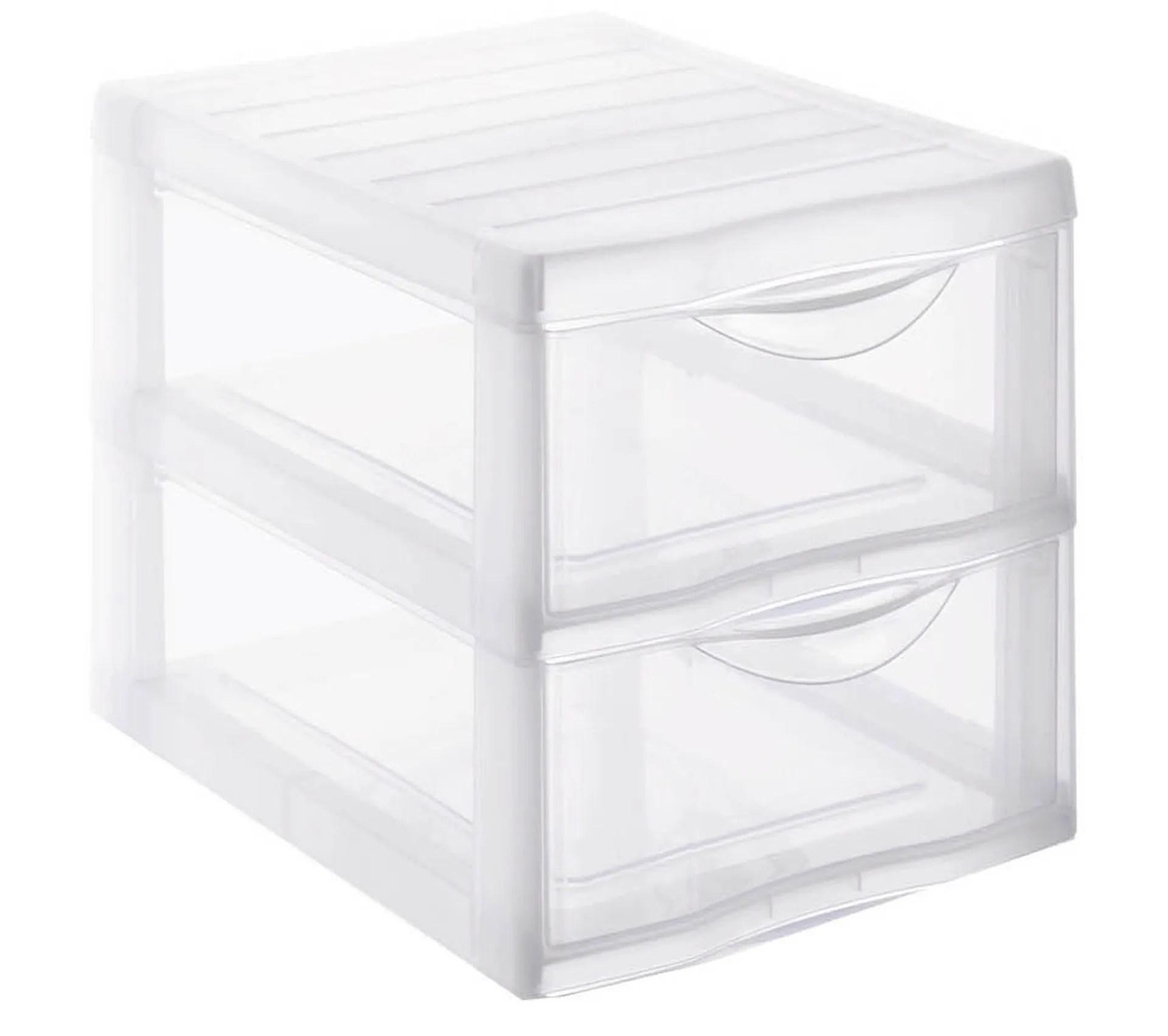 tour de rangement 2 tiroirs orgamix transparent