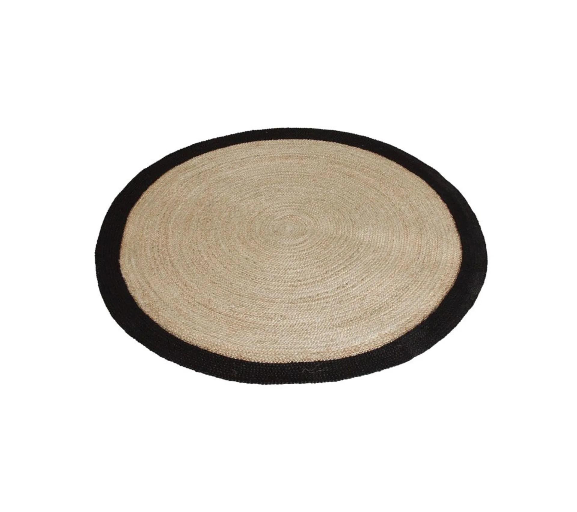 tapis rond jute naturelle avec bords noirs diametre 120 cm