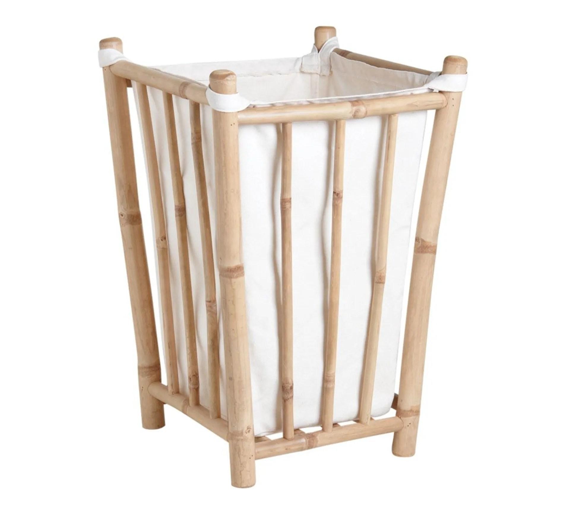 Panier A Linge En Bambou Et Coton Panier A Linge But