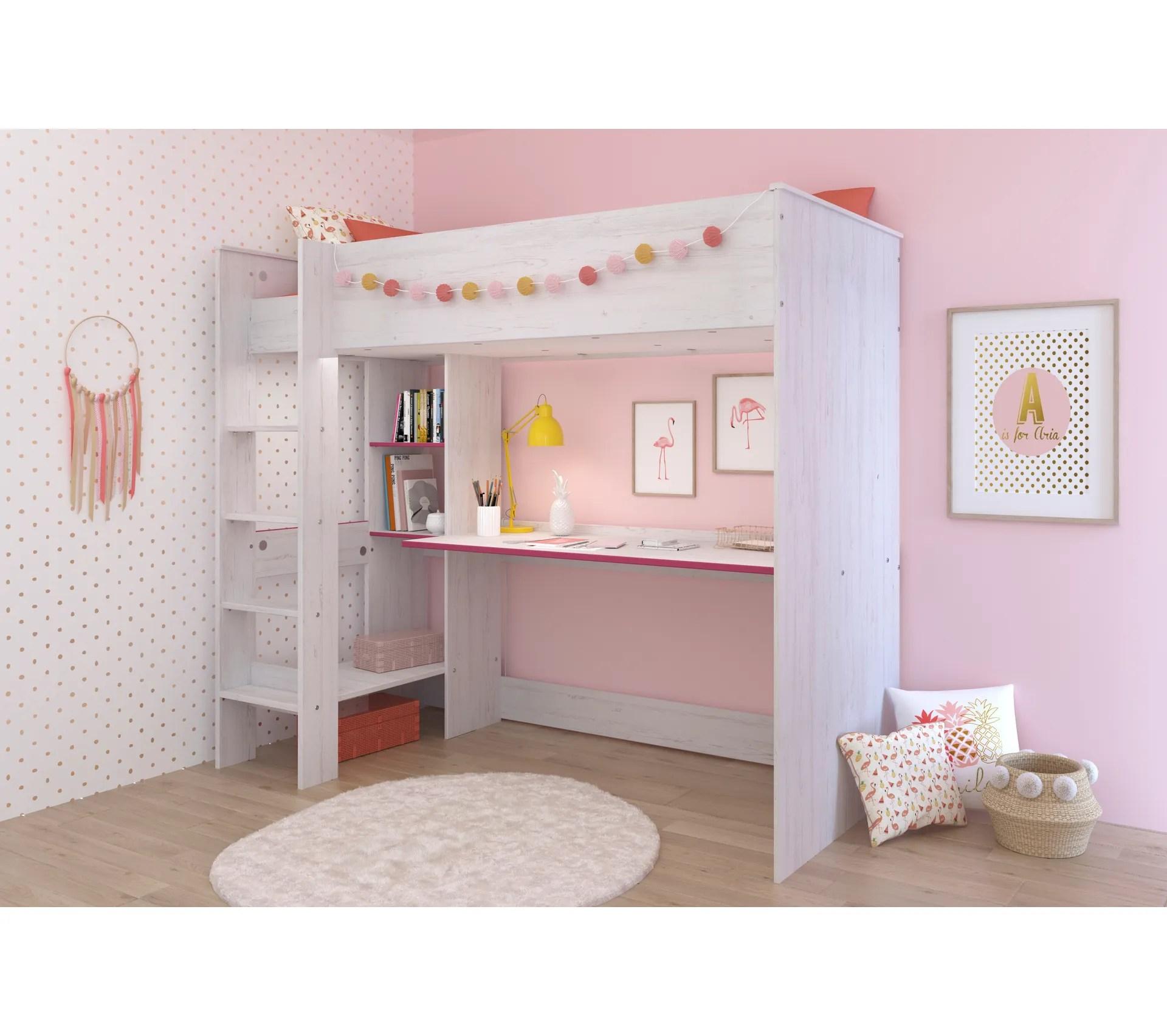lit mezzanine 90x200 cm billy avec bureau et etageres de rangement blanc