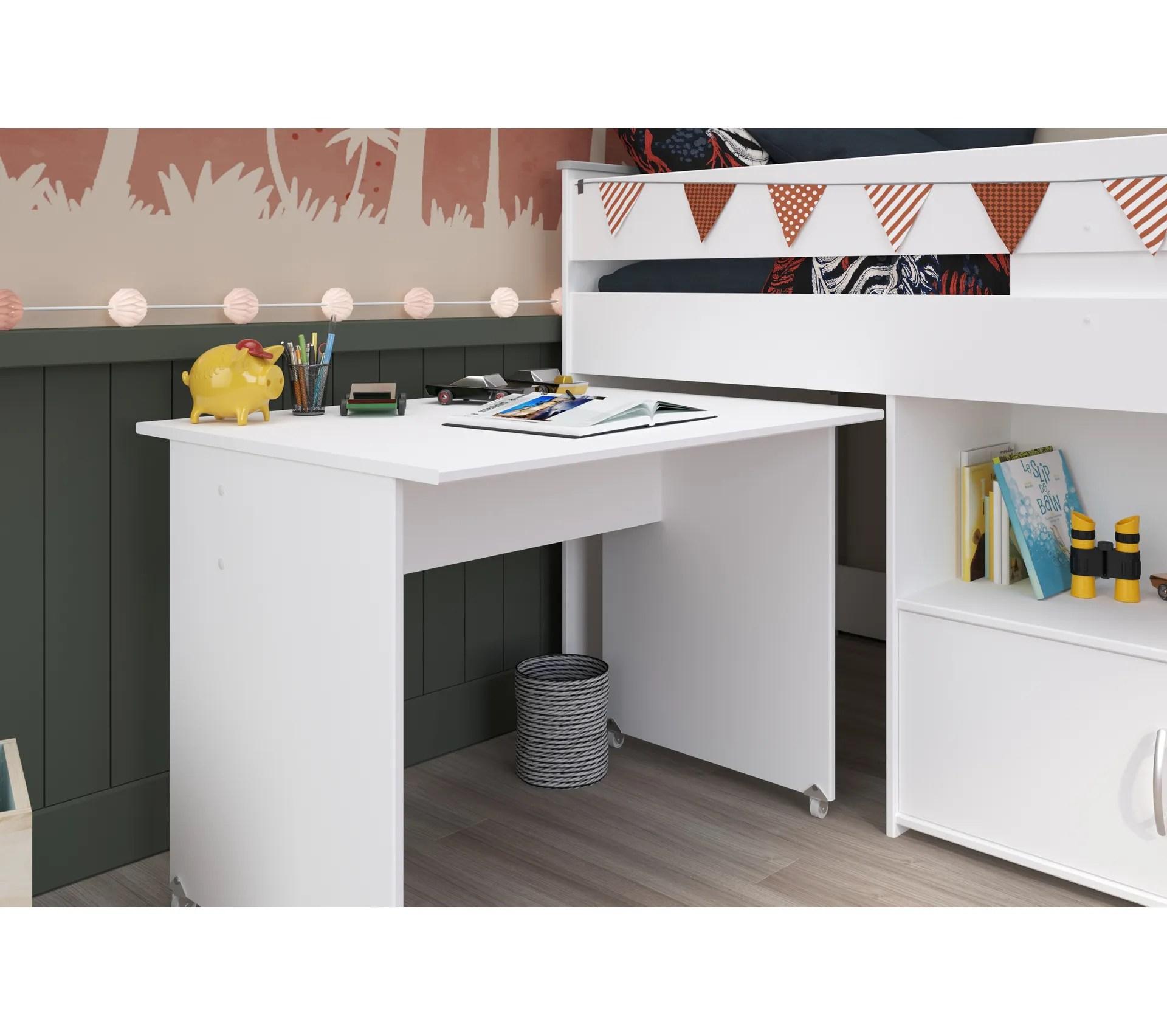 lit combine avec bureau 90x200 cm loan blanc