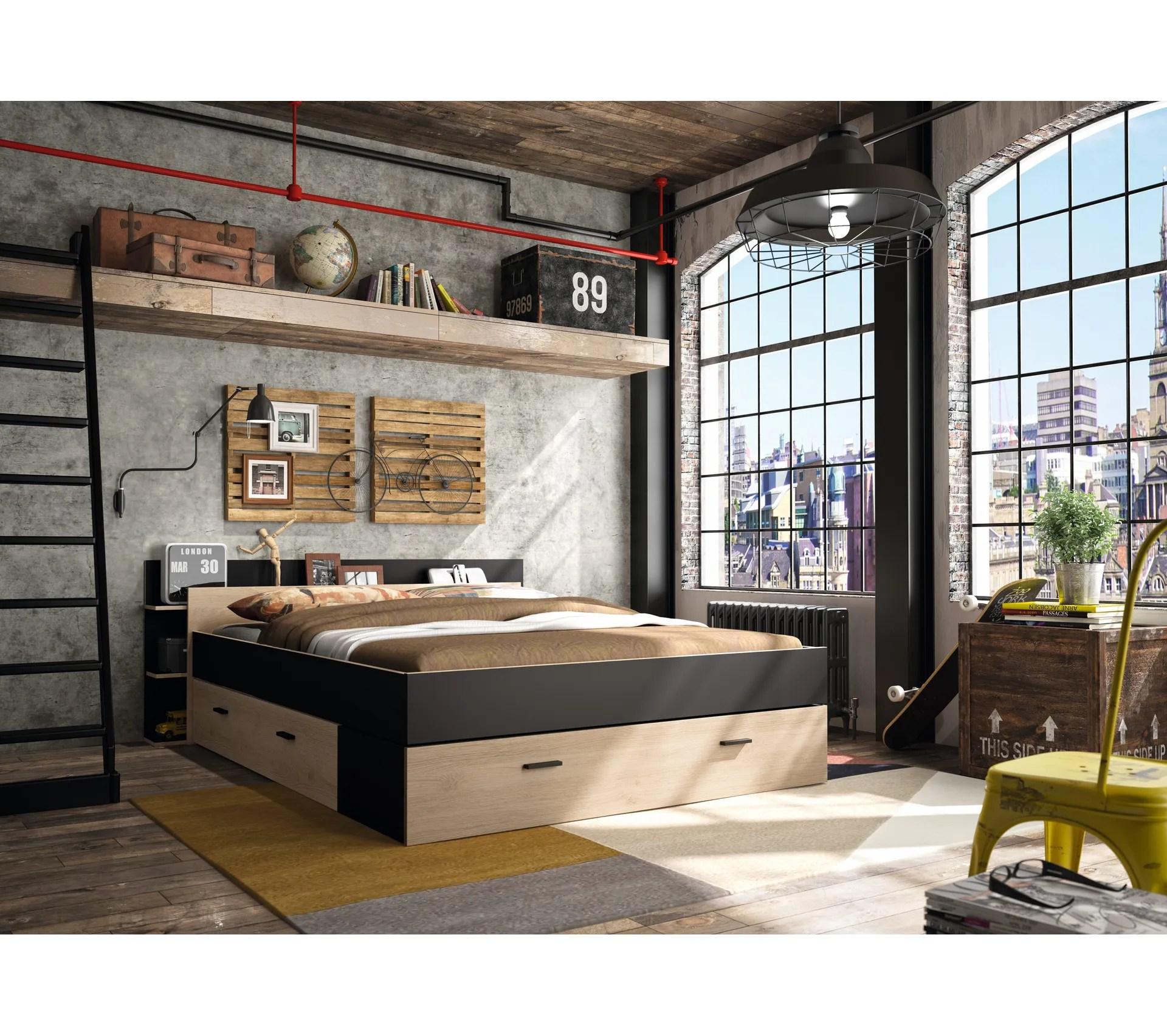 lit avec rangements 140x190 cm tonight style industriel imitation chene et noir