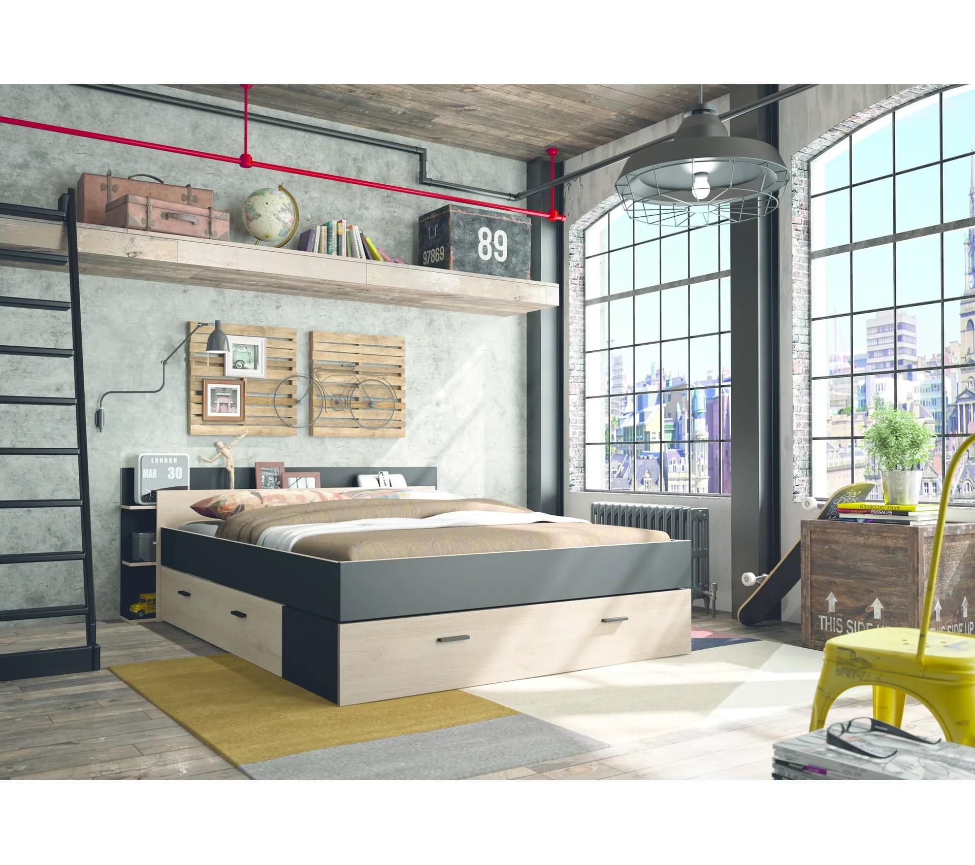 lit avec rangements 160x200 cm tonight style industriel imitation chene et noir