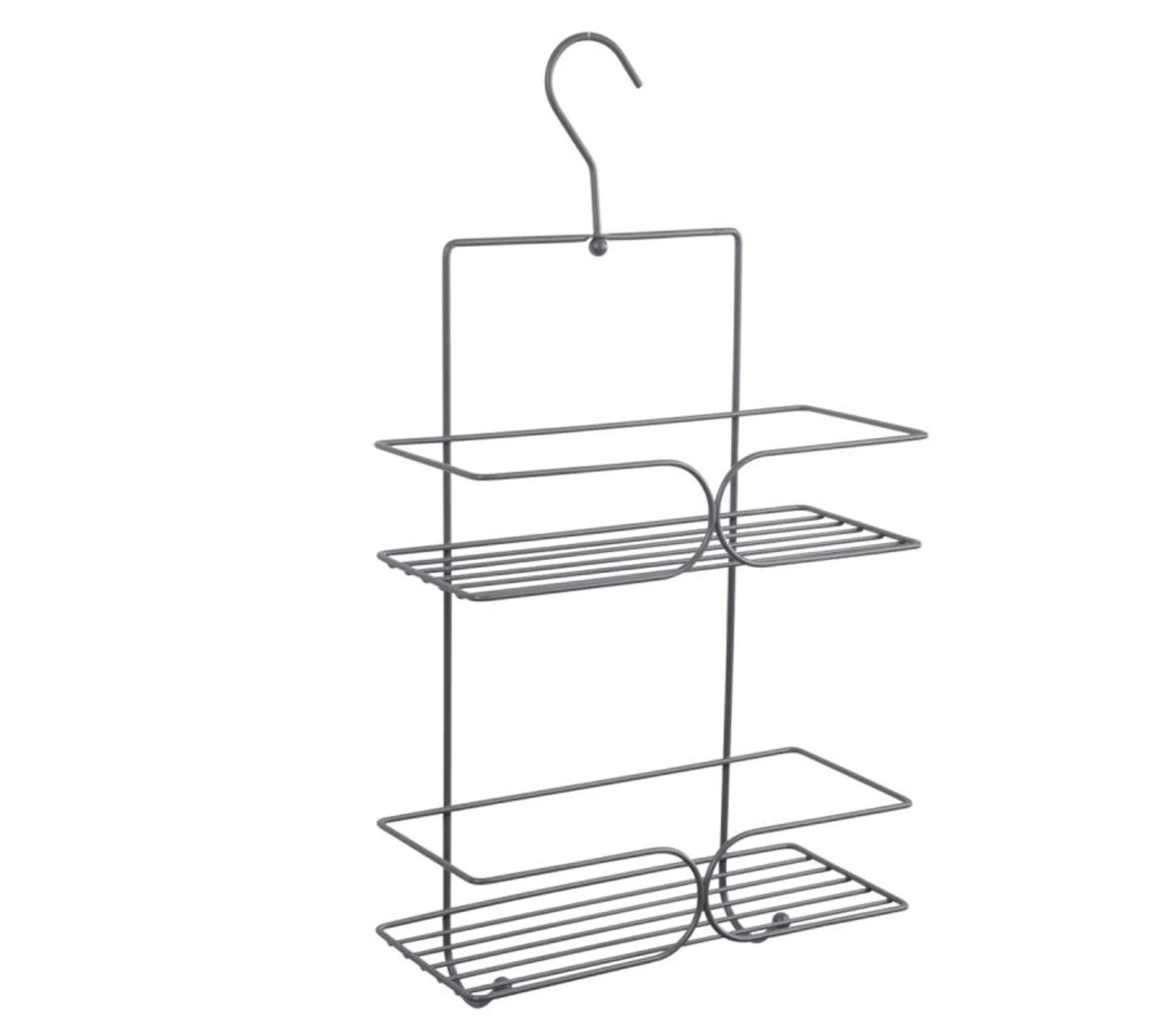 etagere de douche 2 niveaux crochet 25cm gris