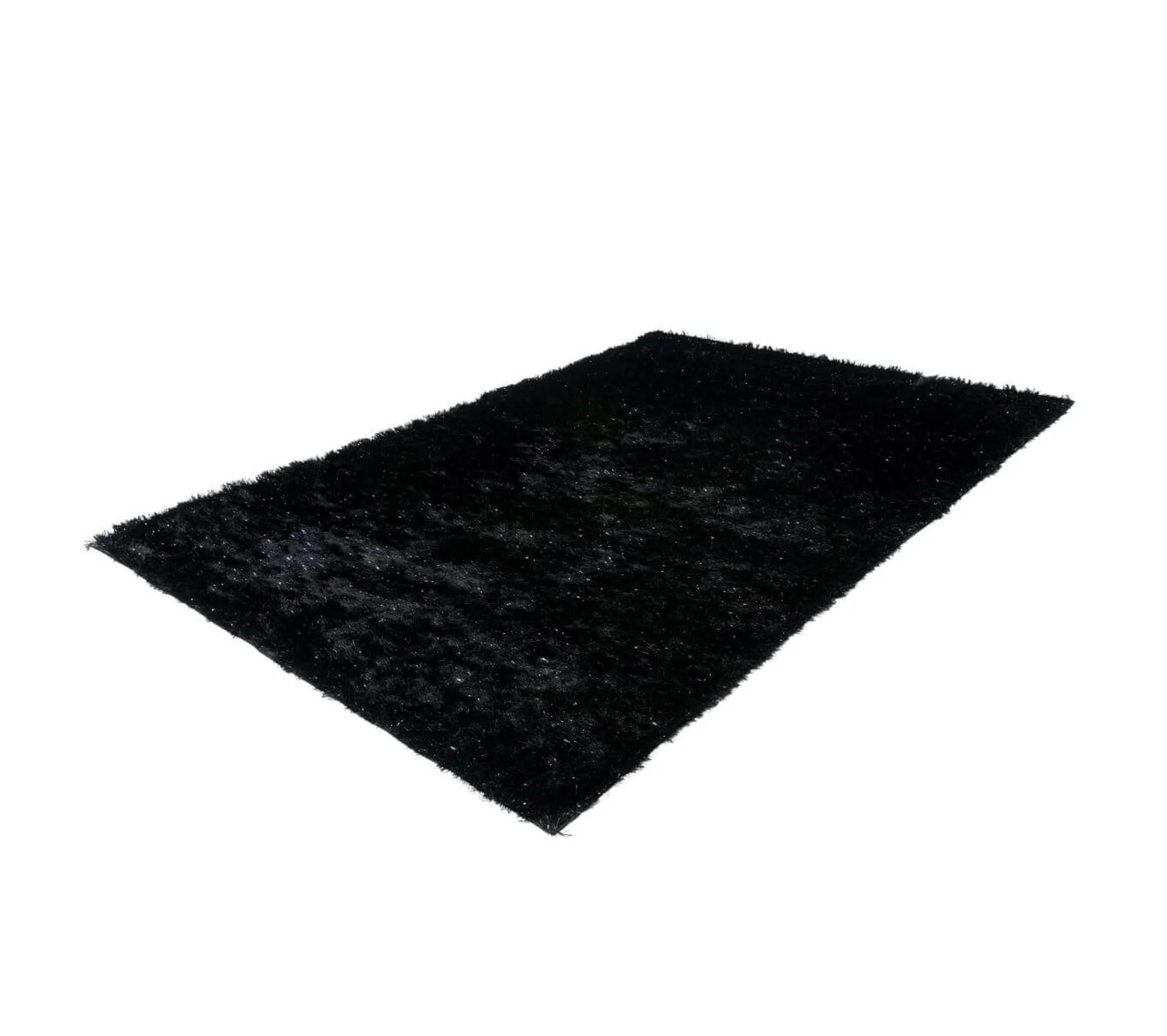 tapis de salon uni shaggy doux twist noir 120x170