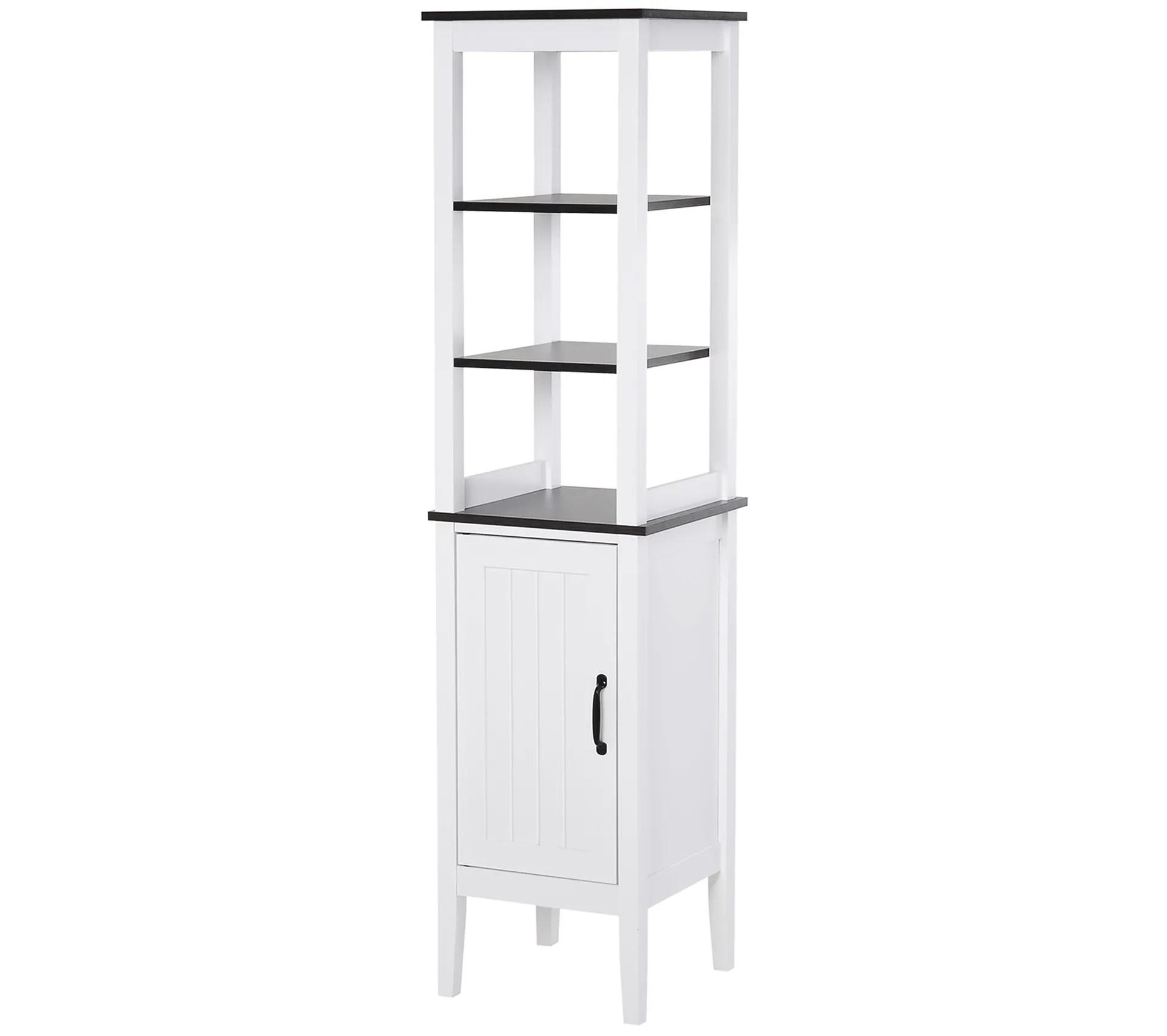 meuble colonne rangement salle de bain 3 etageres placard blanc noir