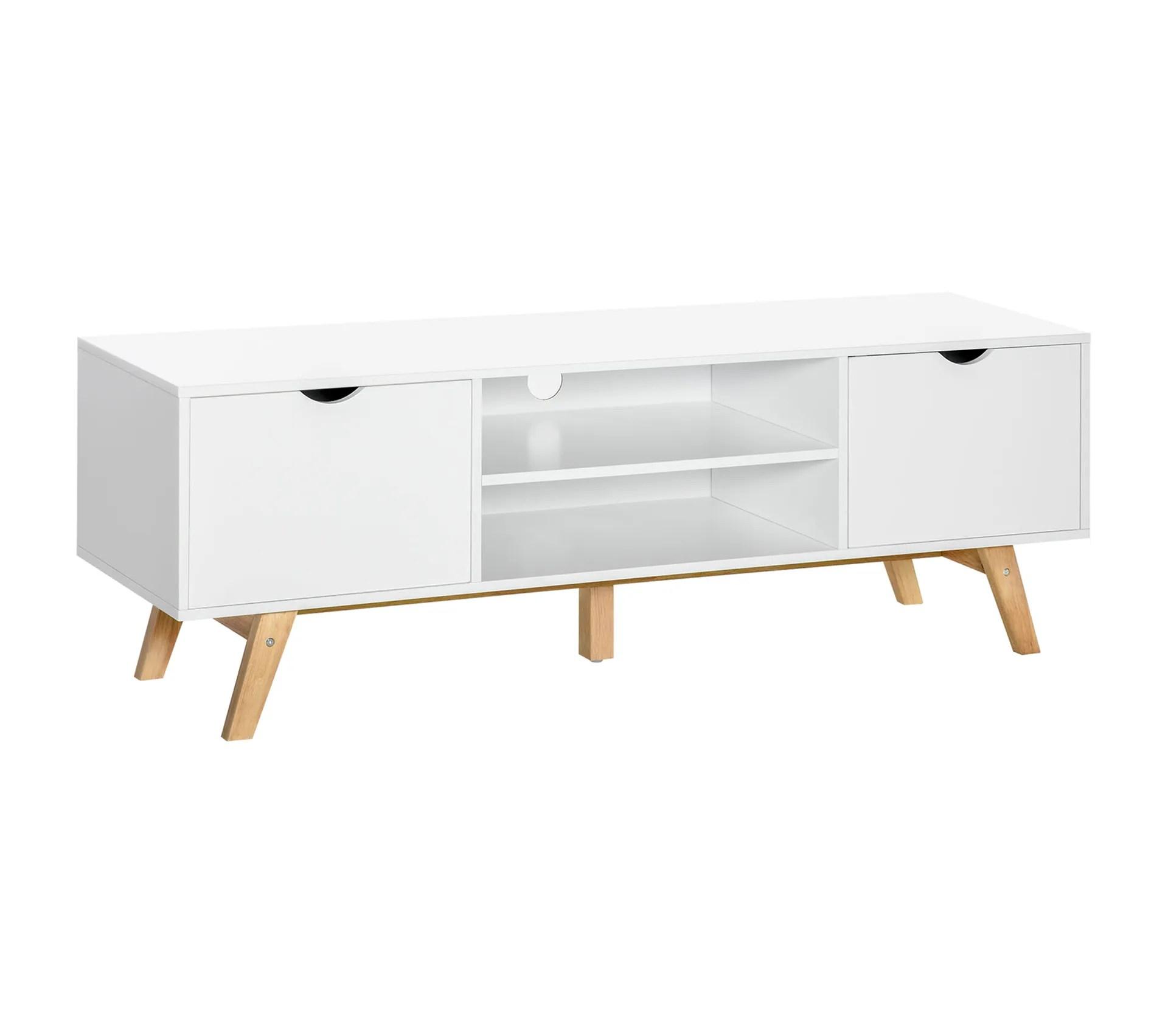 meuble tv bas sur pieds style scandinave 2 portes 2 niches blanc bois hevea