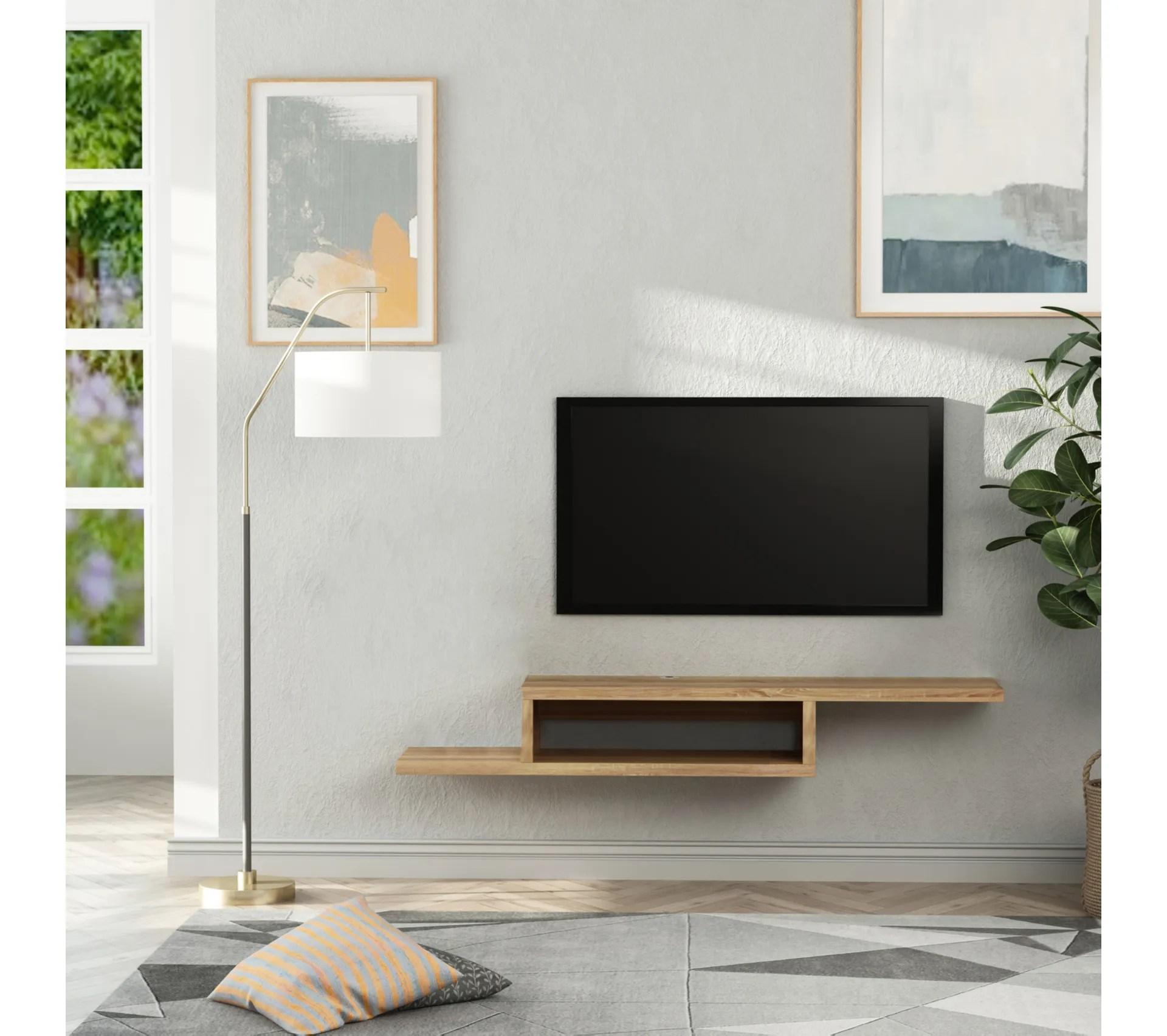 etagere mural meuble tv mural flottant design panneaux particules chene clair