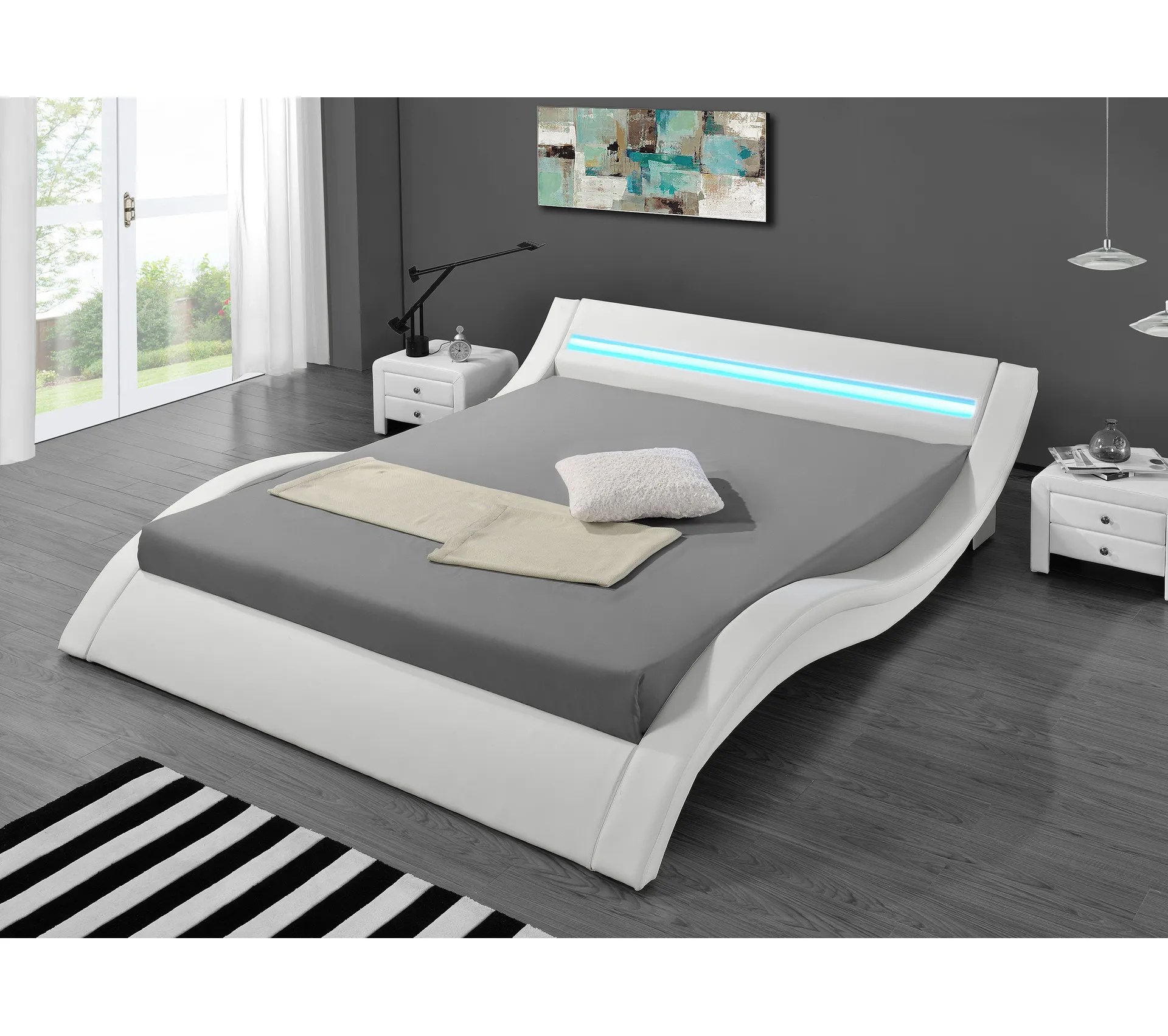lit design led blanc 180 x 200 cm