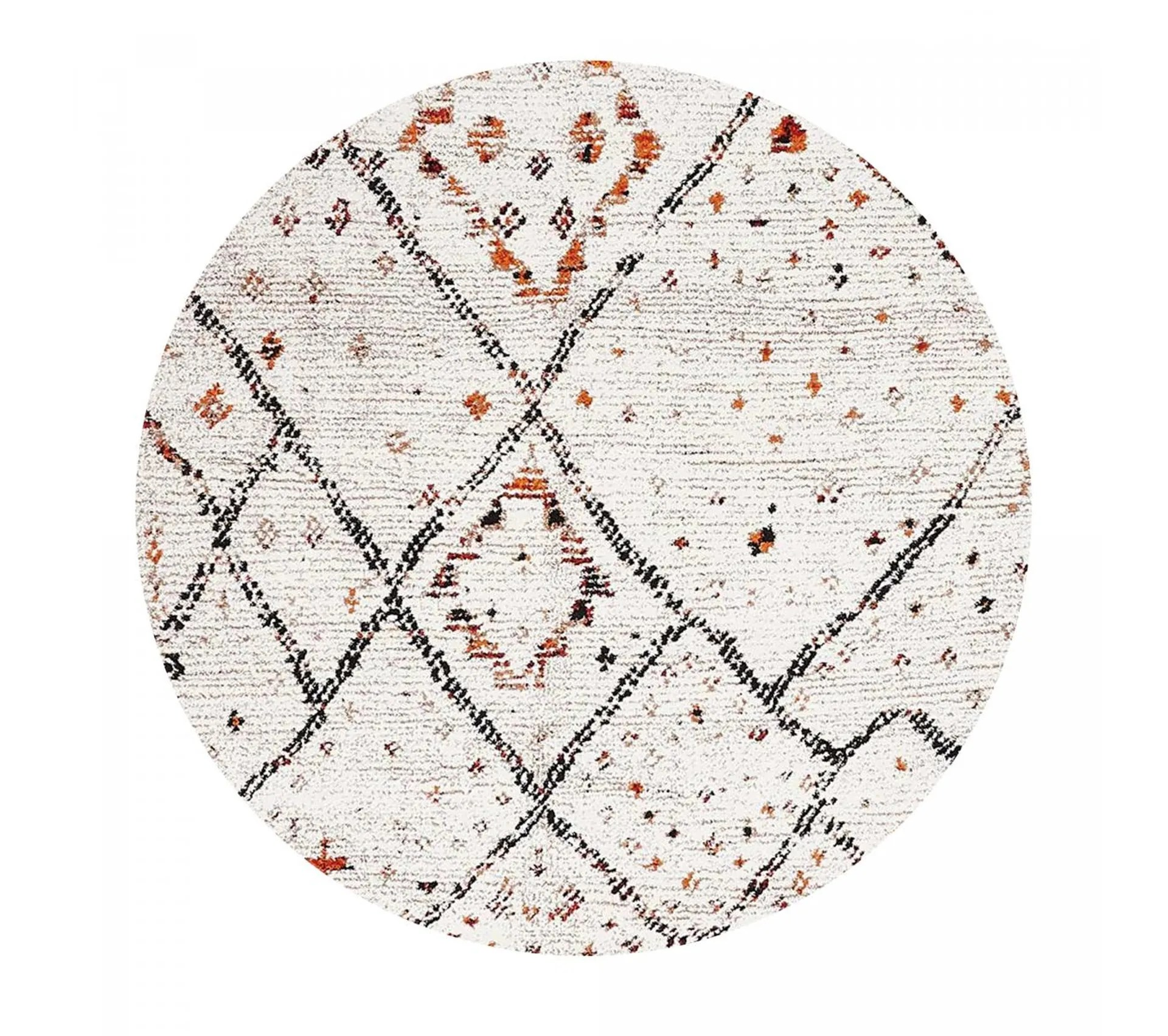 120x120 rond tapis style berbere rond morocco style creme
