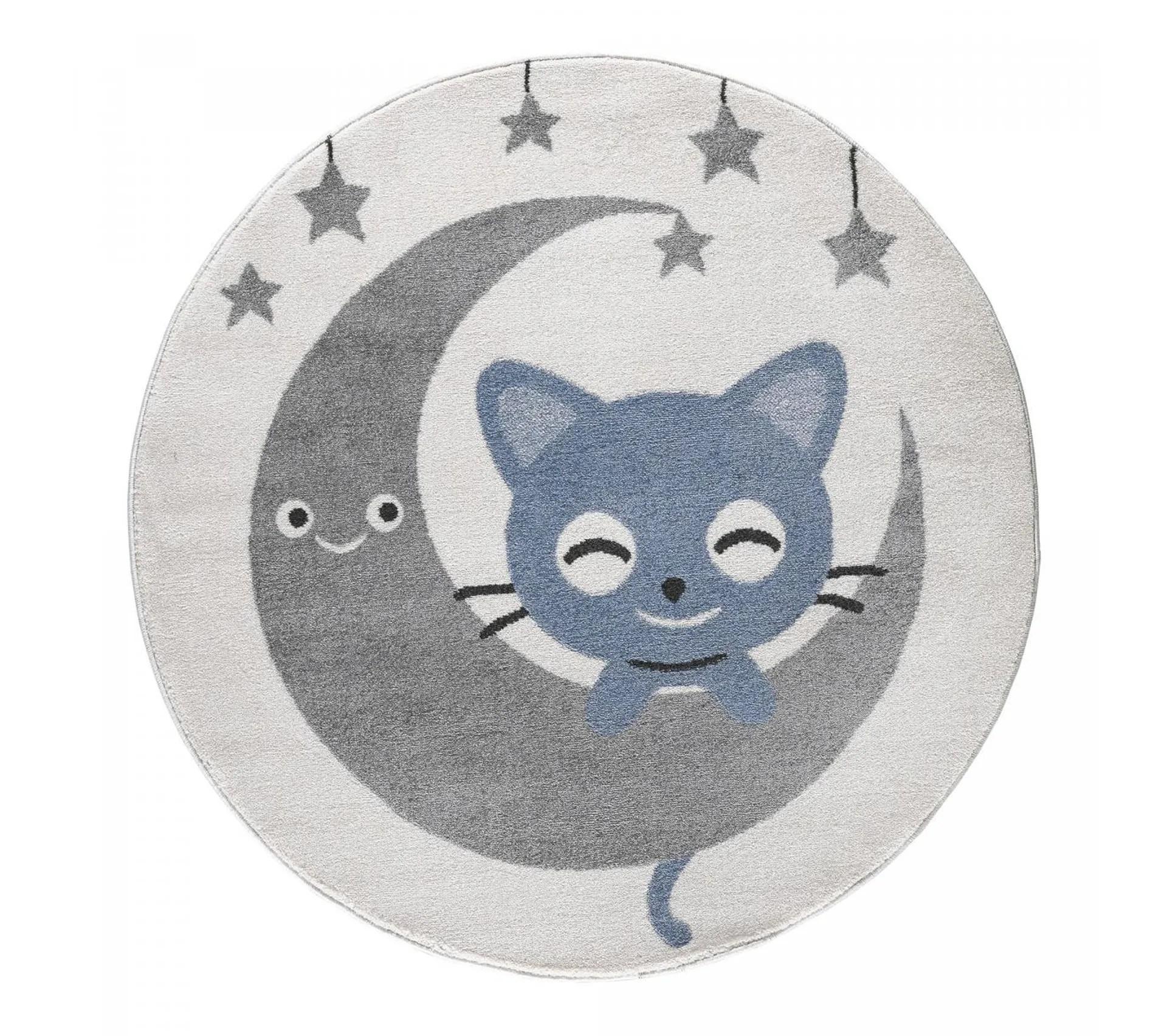 120x120 rond tapis enfant rond candy cat kj gris creme bleu