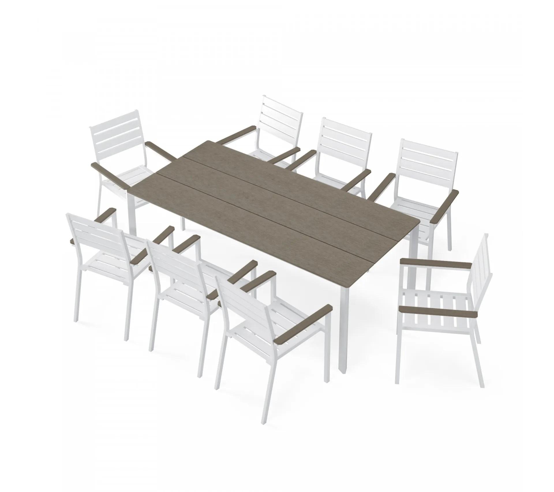 table de jardin aluminium blanc bois composite gris 8 fauteuils empilables lena