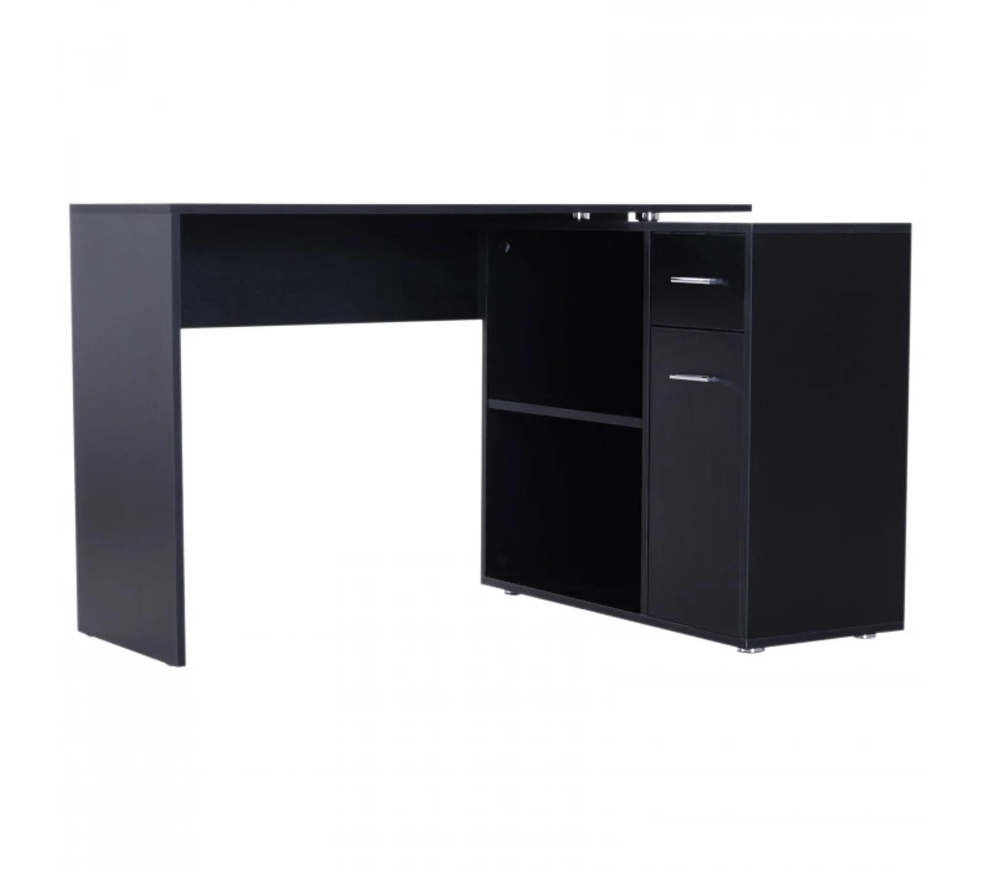 bureau informatique meuble dangle multi rangements avec etageres corner noir