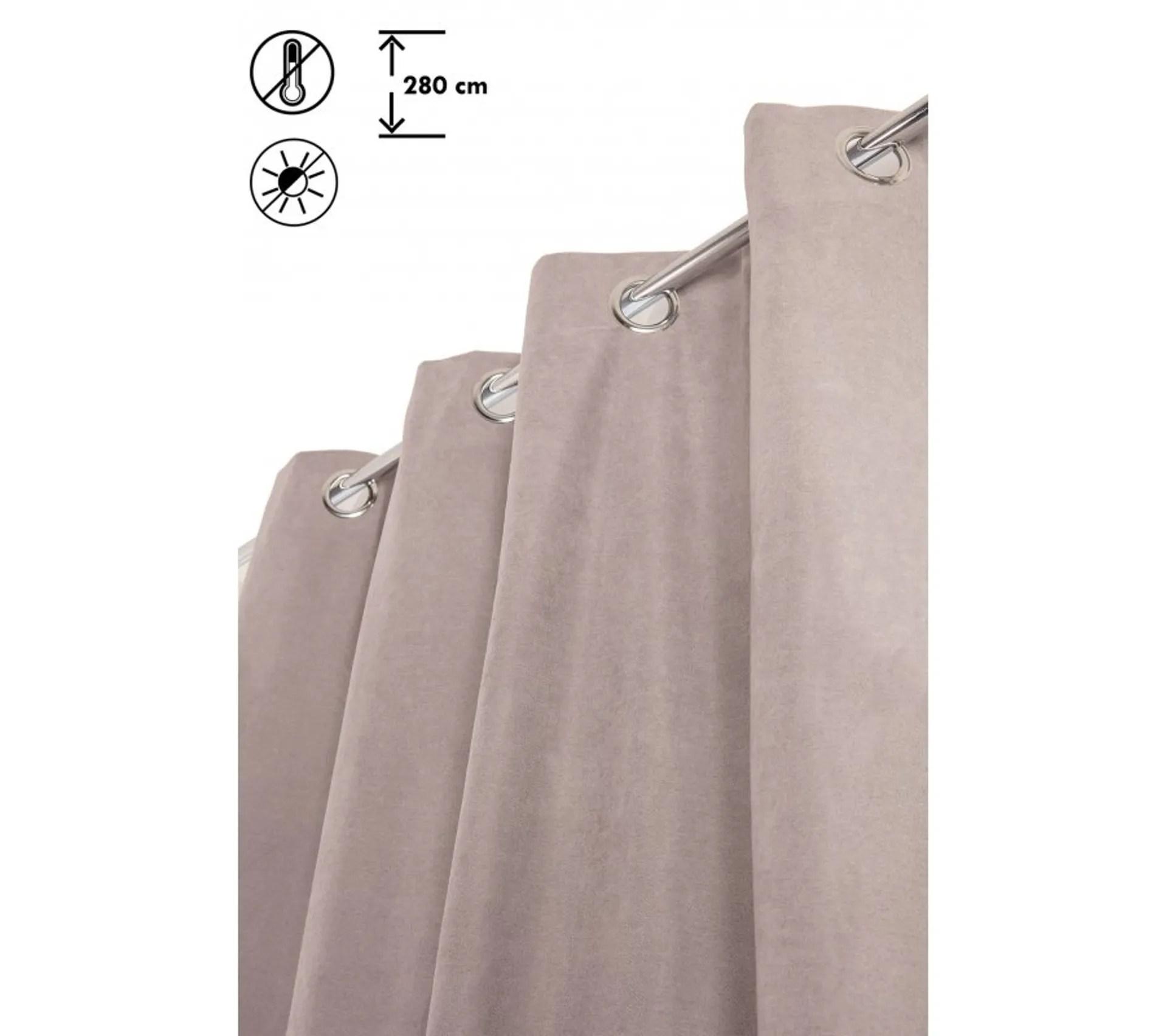 rideau occultant 135 x 280 cm grande hauteur effet velours thermique anti froid uni gris clair