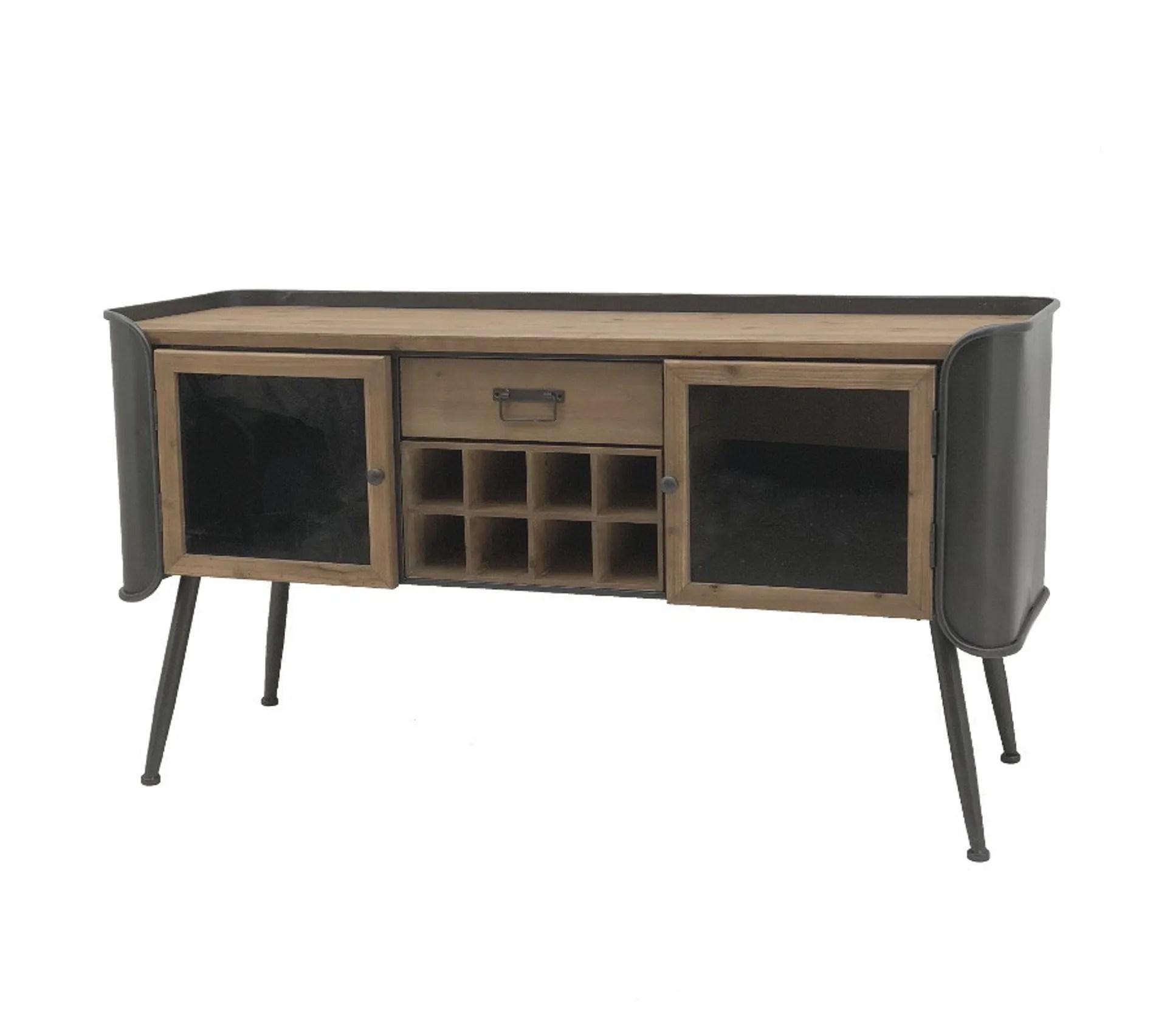 meuble bahut console tele tv industriel fer bois 144 50 cm x 76 cm