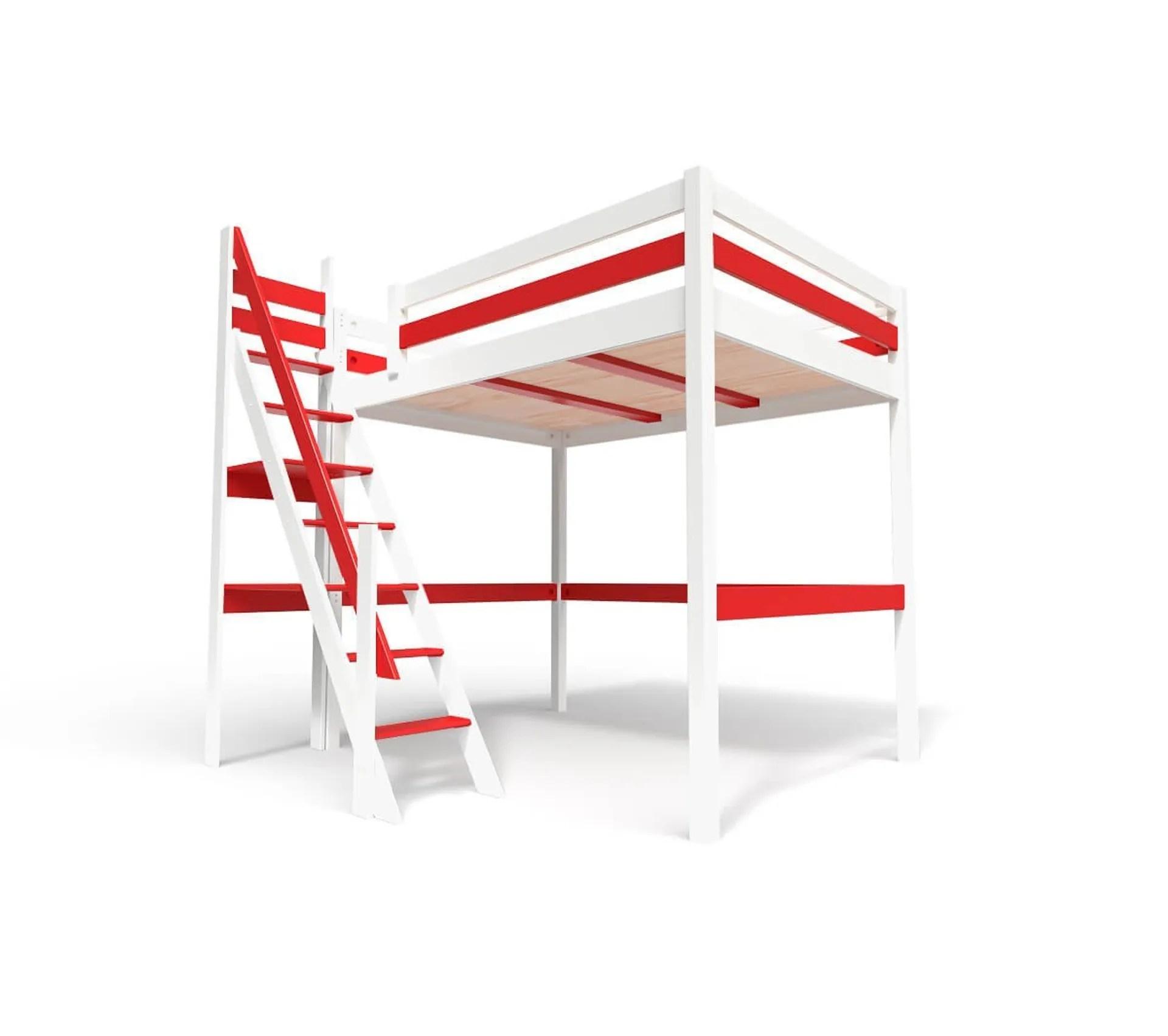 lit mezzanine sylvia avec escalier de meunier bois couleur blanc rouge dimensions 140x200
