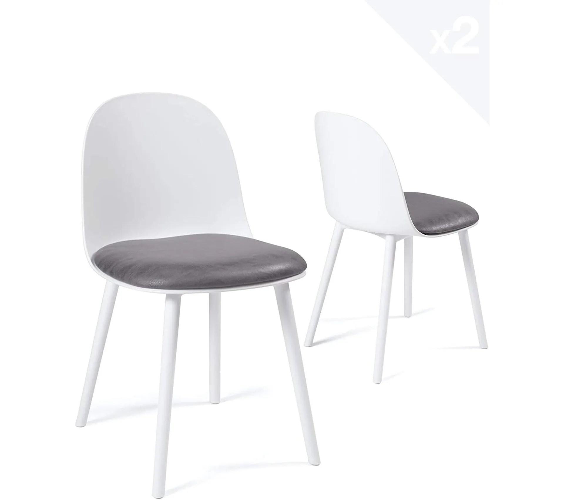 lot de 2 chaises cuisine design coussin integre ufi blanc gris