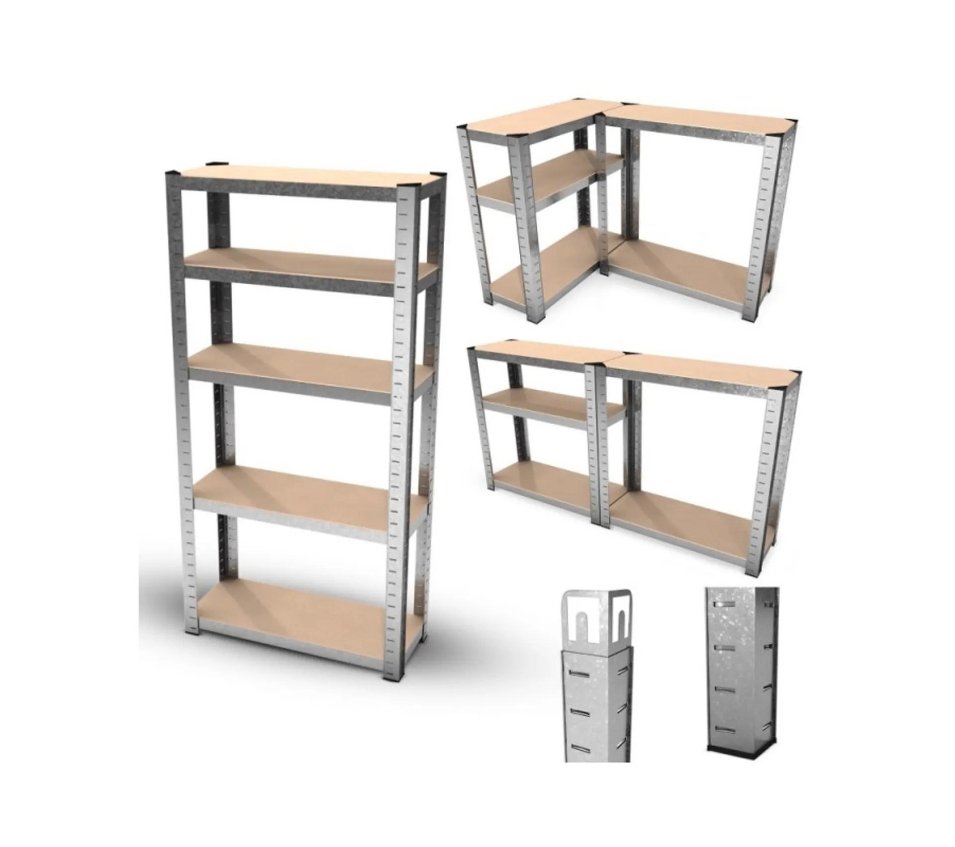 etagere de rangement polyvalente en metal charge lourde max 750kg 150 x 75 x 30 cm gris