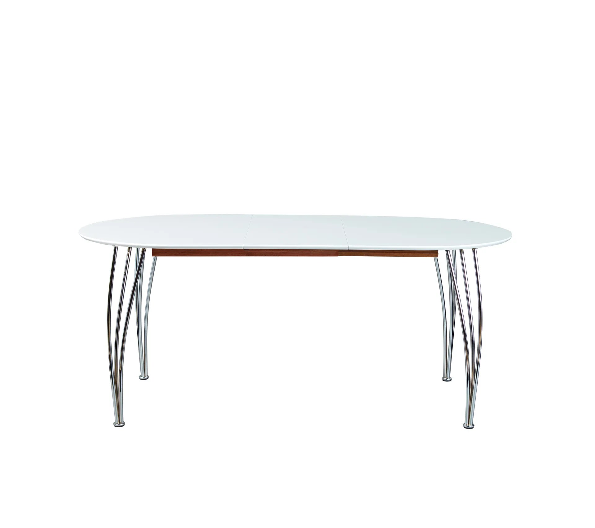table a manger extensible ovali blanc mat pieds metal