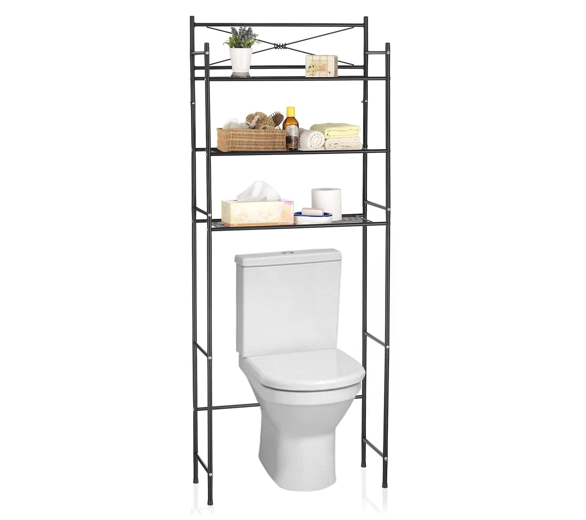 etagere de salle de bain marsa rangement pour wc lave linge en metal laque noir