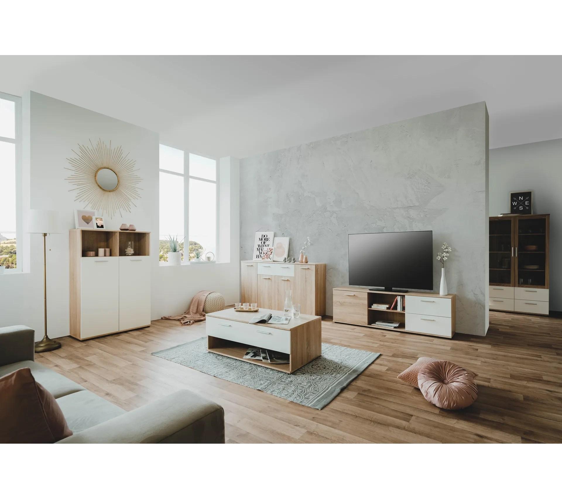 meuble tv l 160 toledo decor chene sonoma blanc