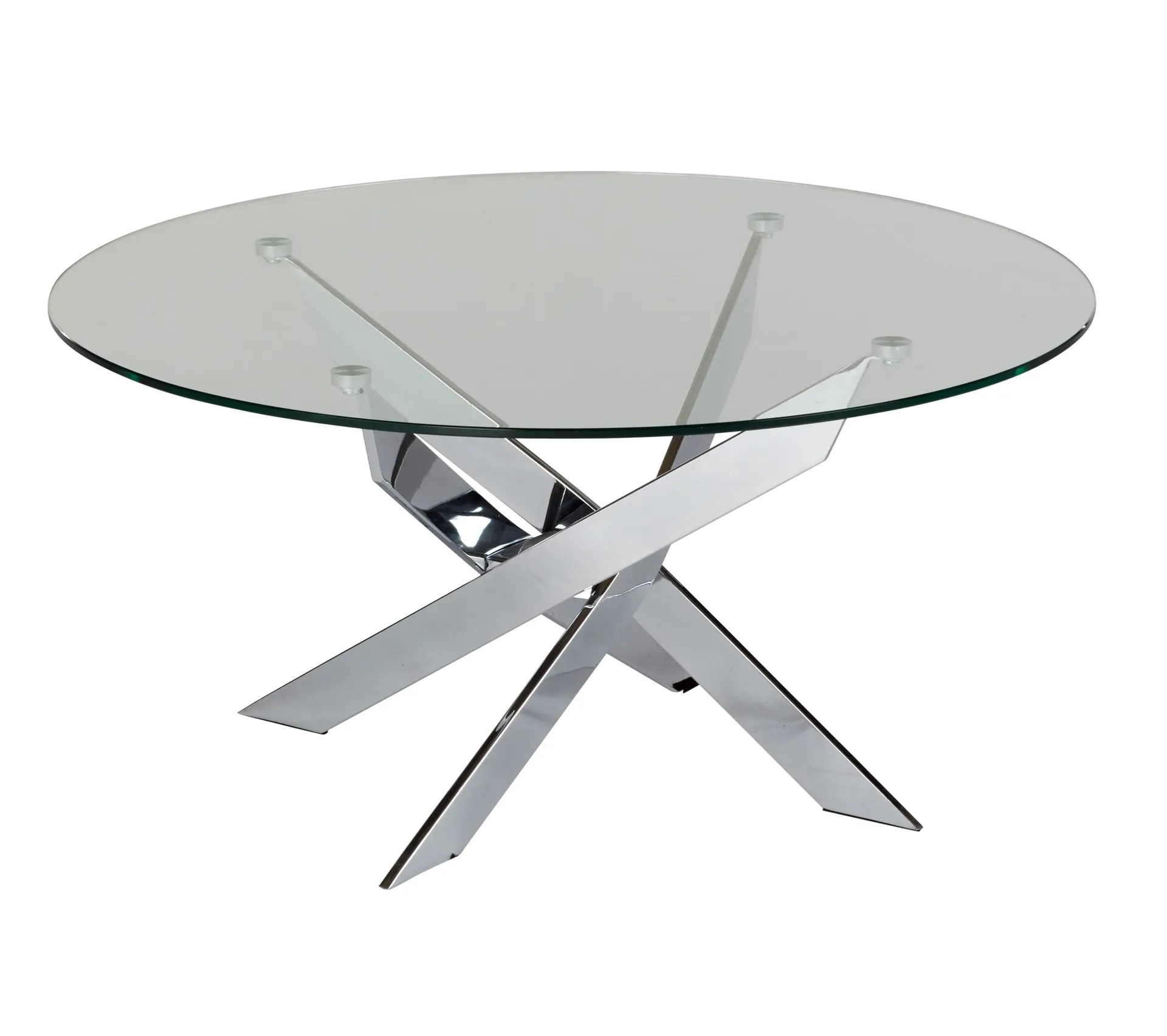 table basse ronde pivo verre et chrome