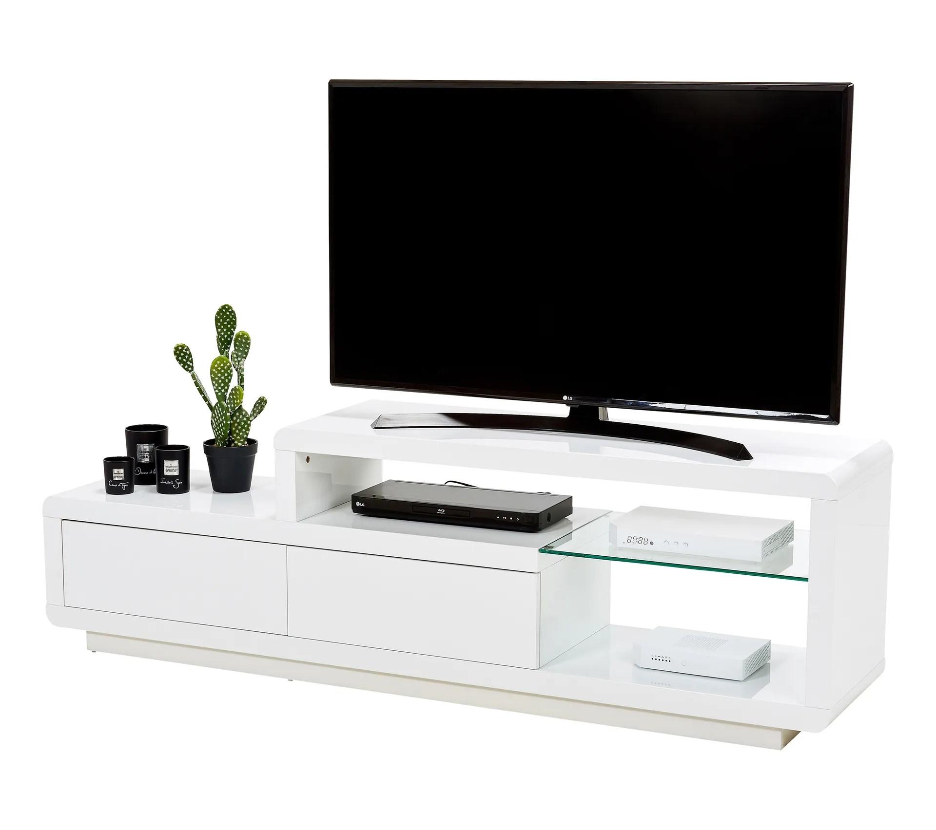 meuble tv samson 2 blanc laque