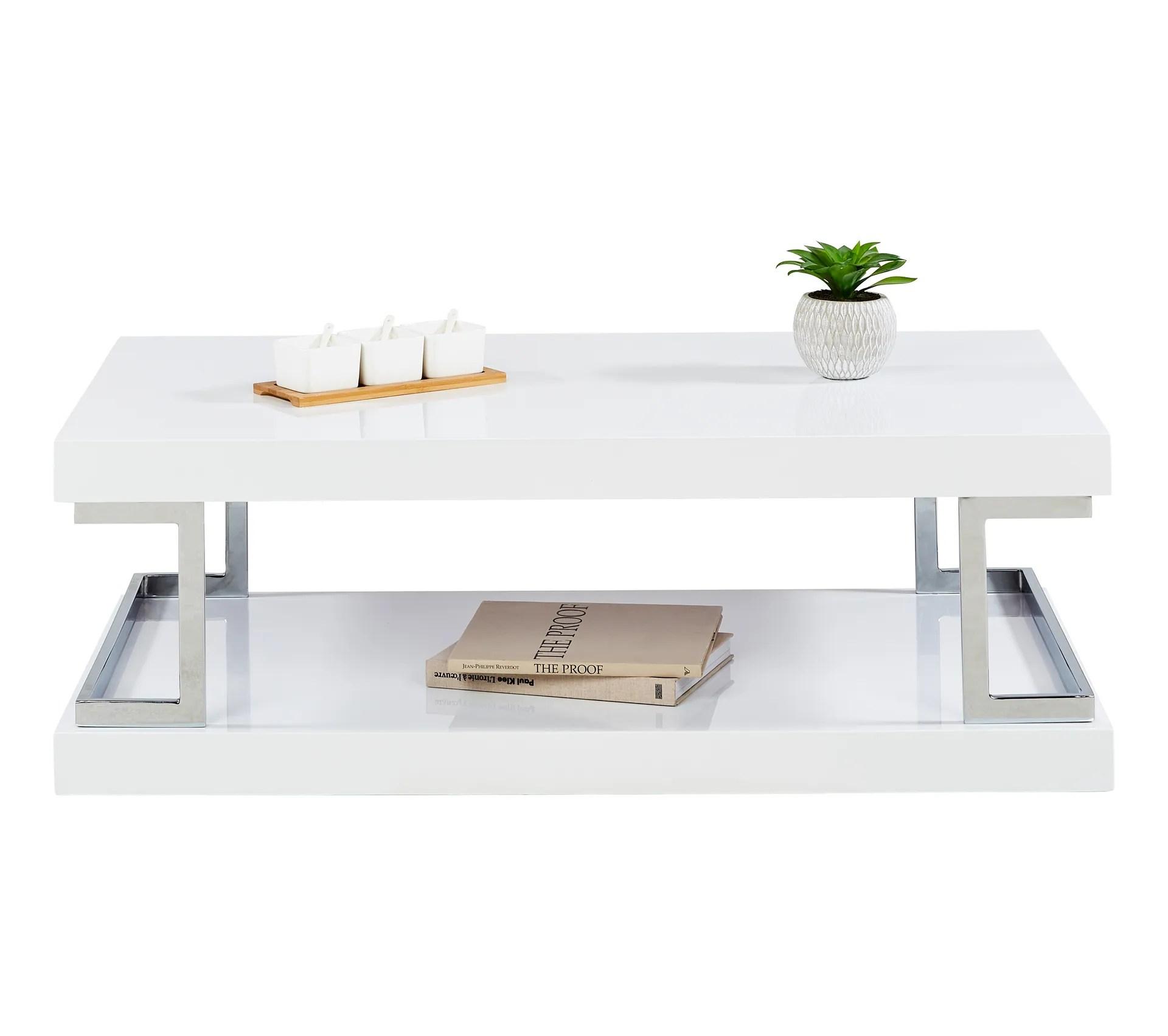 table basse celia 3 blanc laque et chrome