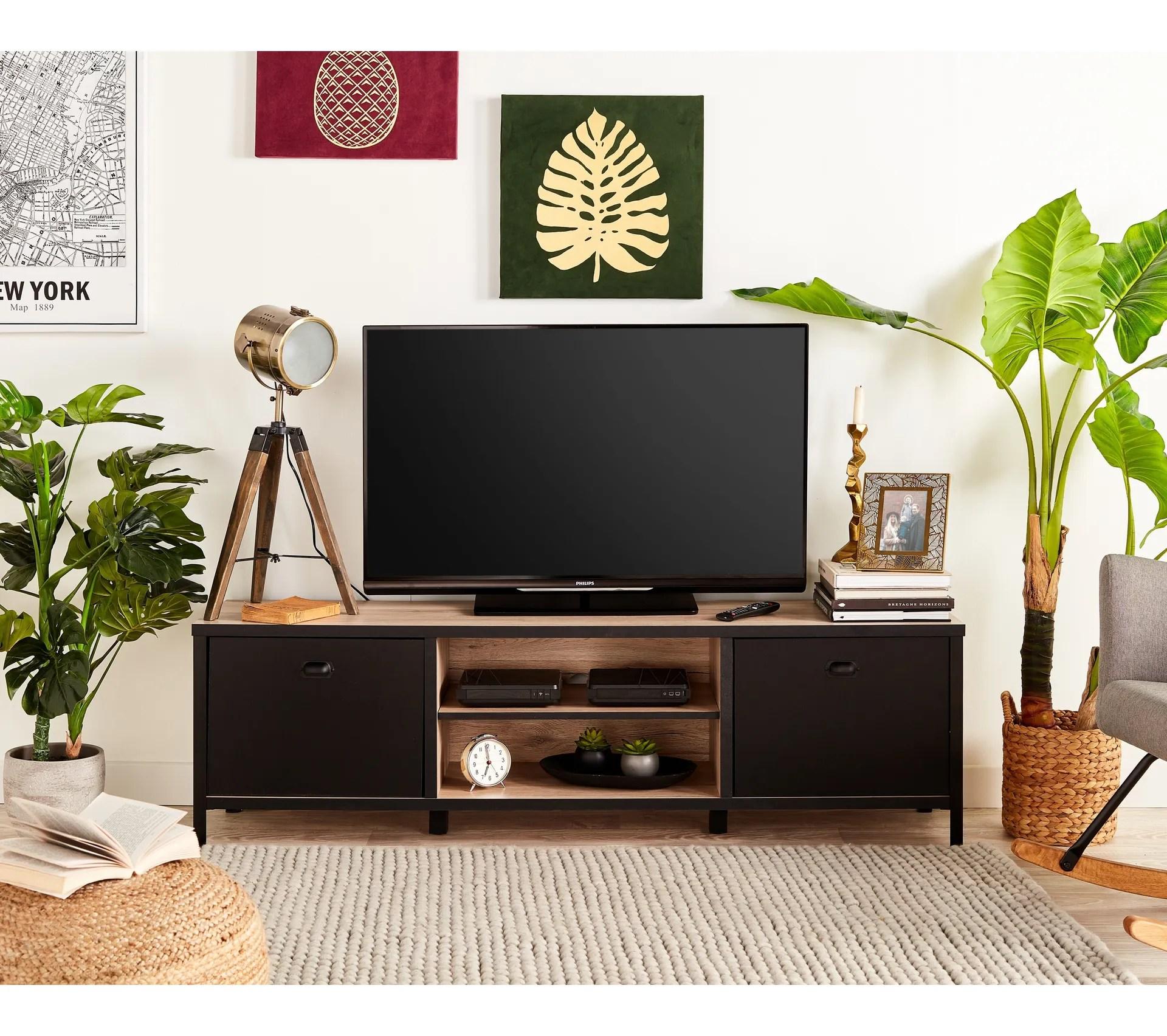meuble tv harlem imitation chene et noir