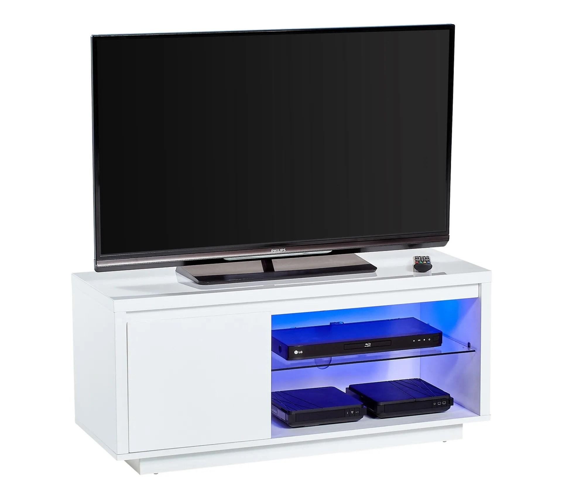 meuble tv avec leds sacha blanc laque