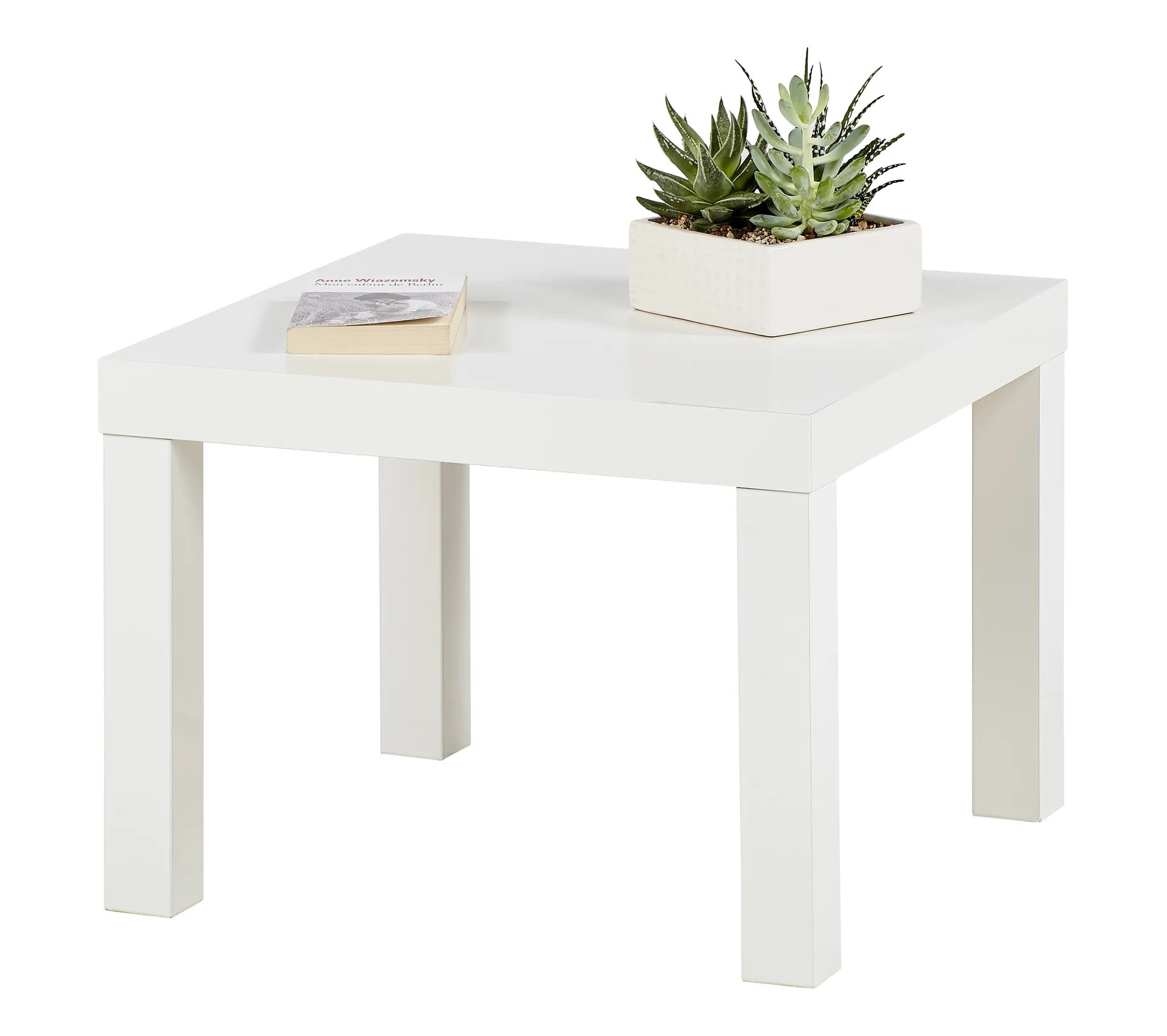 table basse carree laquee next blanc