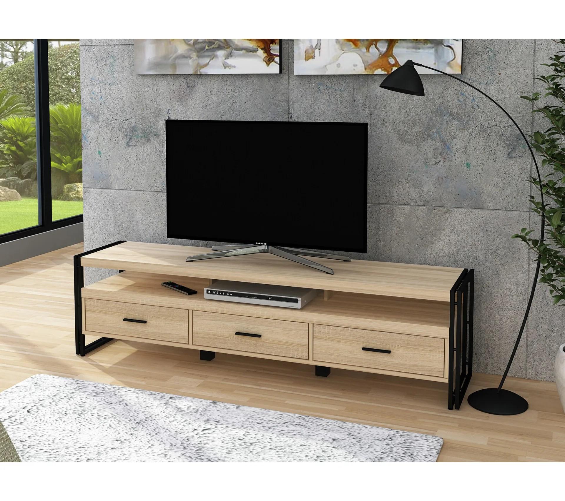 meuble tv style industriel parker 170 cm imitation chene et noir